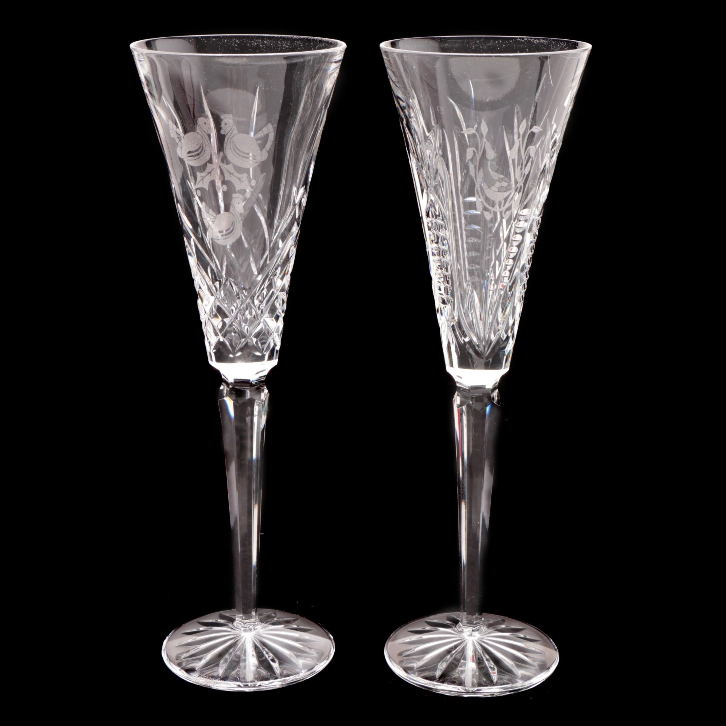 """Waterford Crystal """"Twelve Days of Christmas"""" Flutes"""