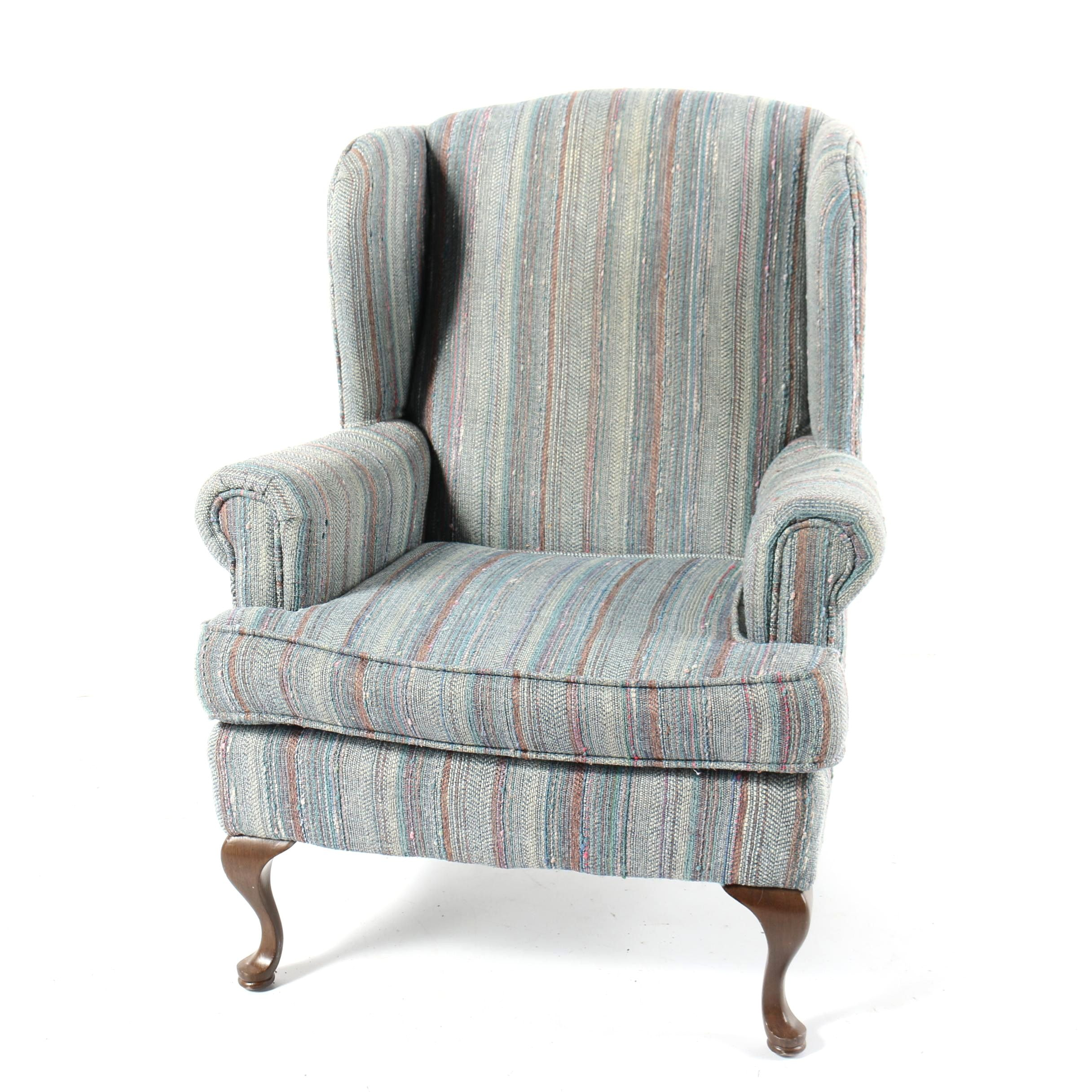 Vintage Queen Anne Style Wingback Armchair