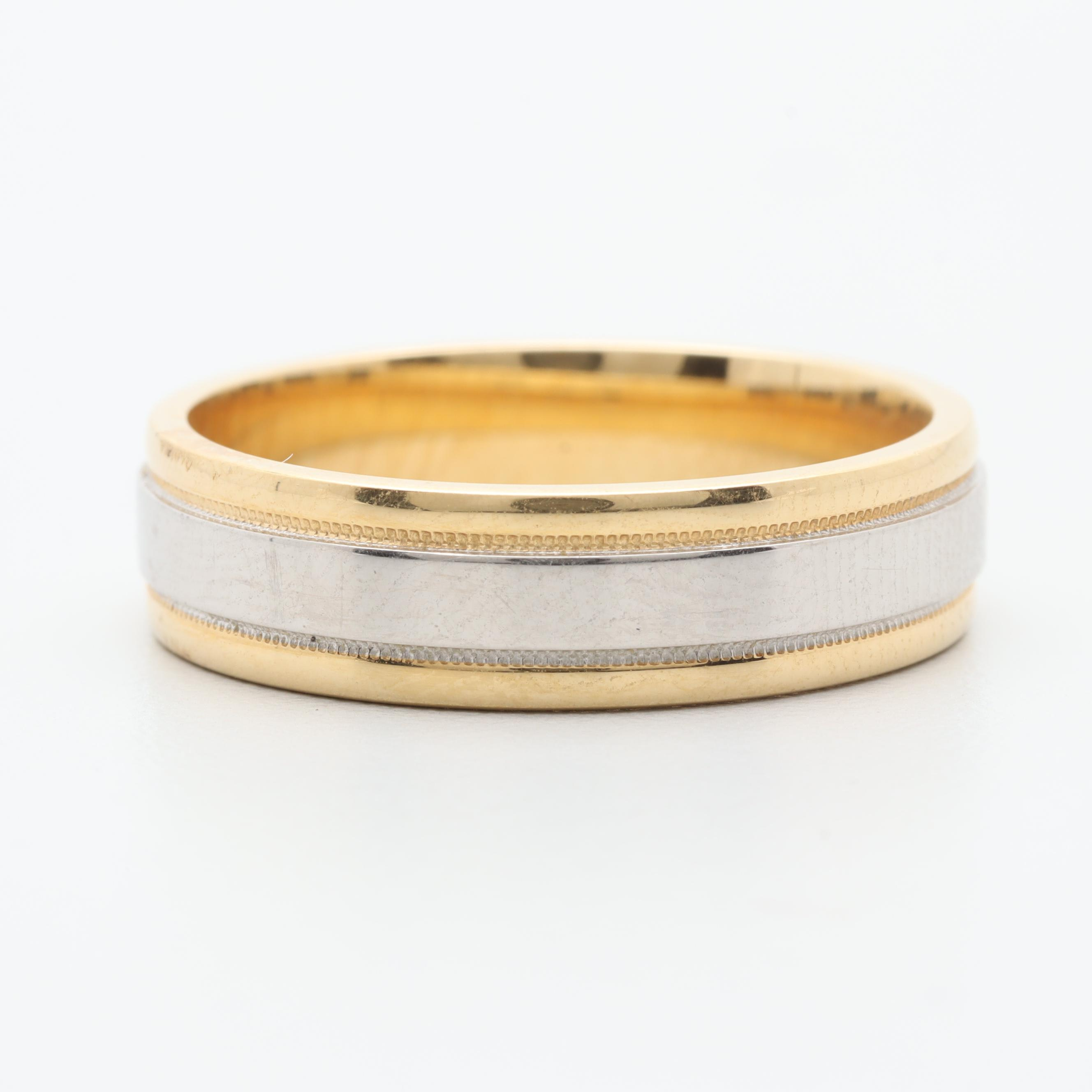 18K Yellow Gold and Platinum Band