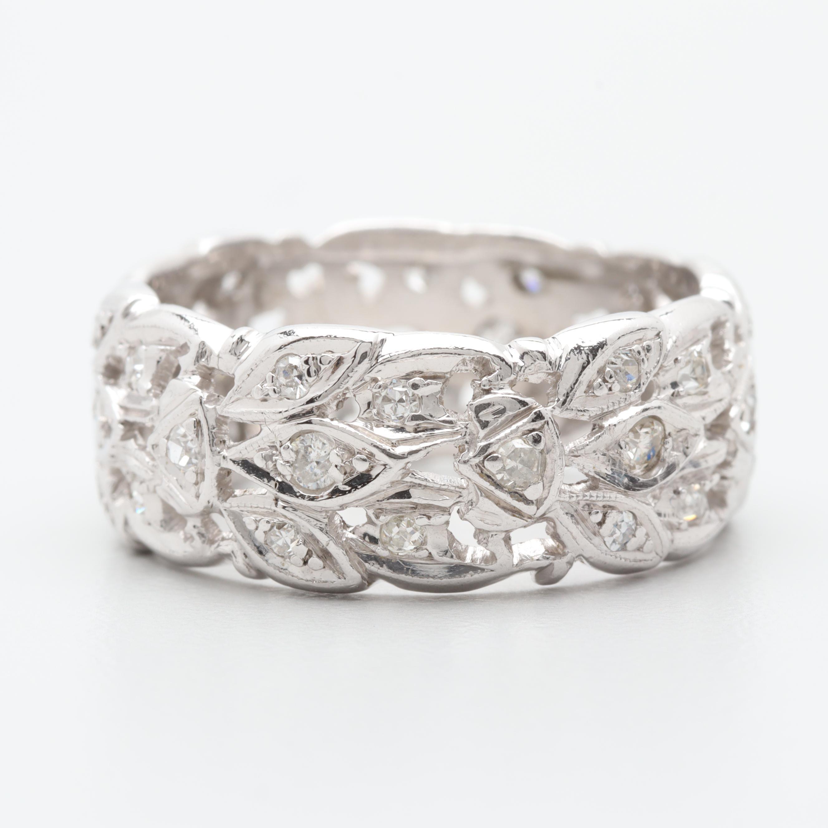 Platinum Foliate Diamond Ring