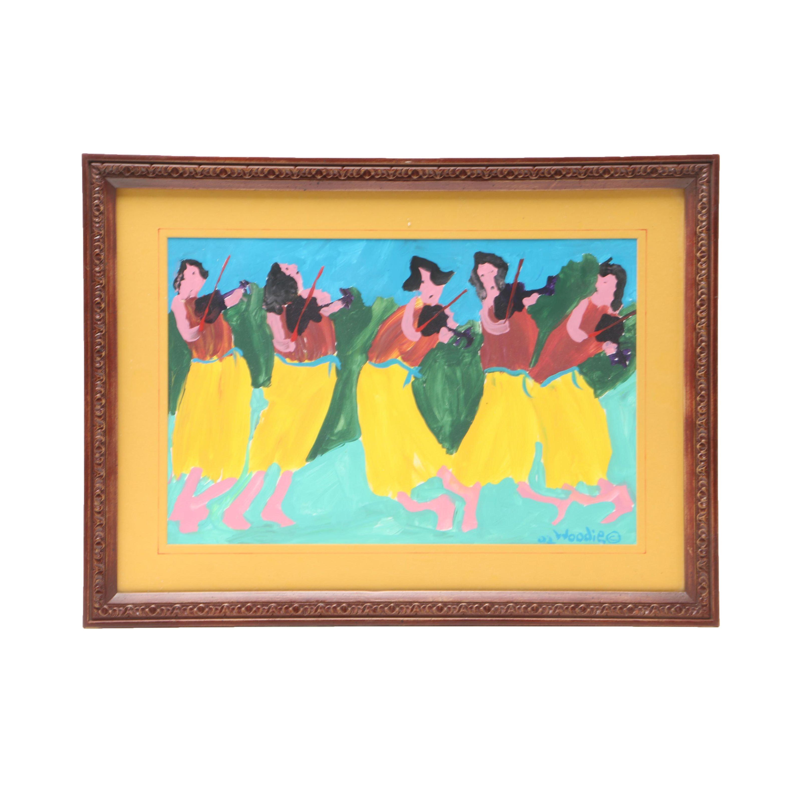 Woodie Long 2002 Gouache Folk Painting on Paper