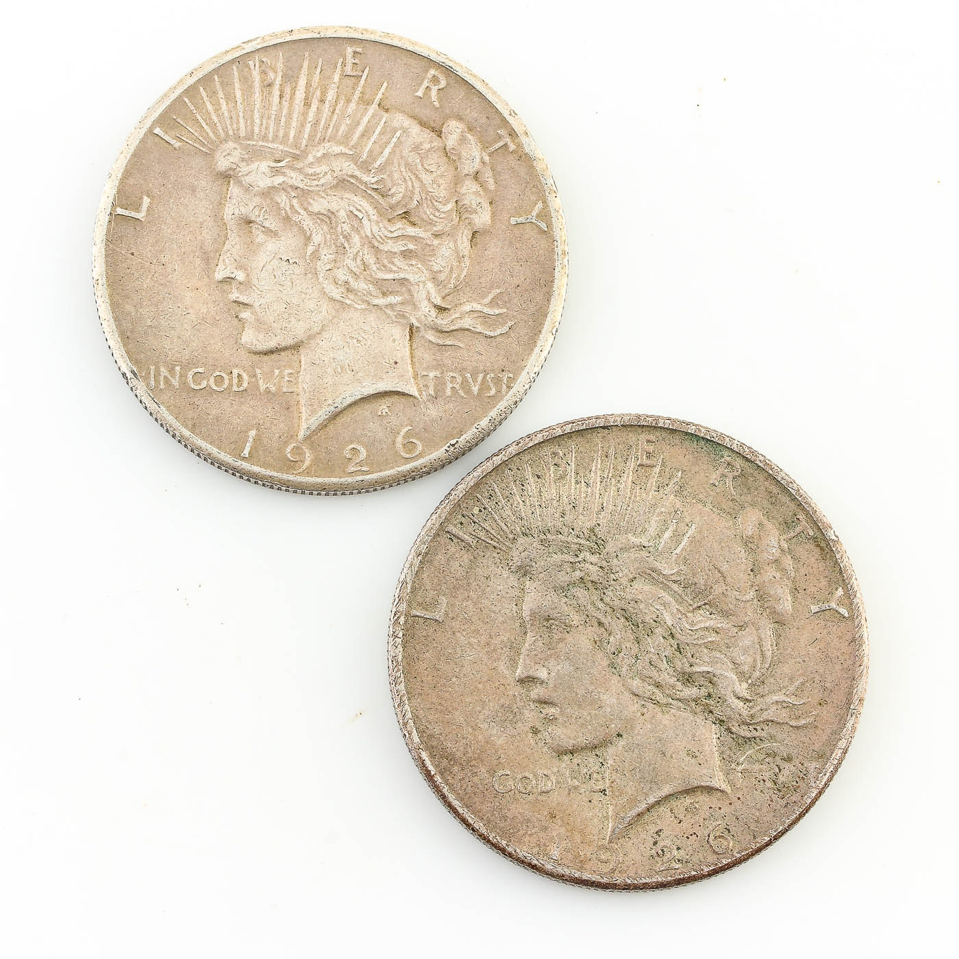 Group of 2 Silver Peace Dollars Including: 1926 and 1926-S