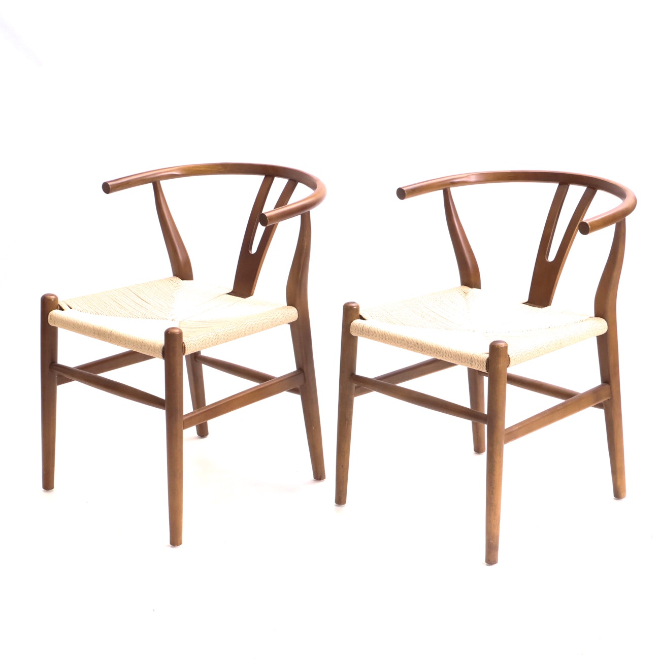 Pair Mid Century Modern Style Yoke-Back Chairs