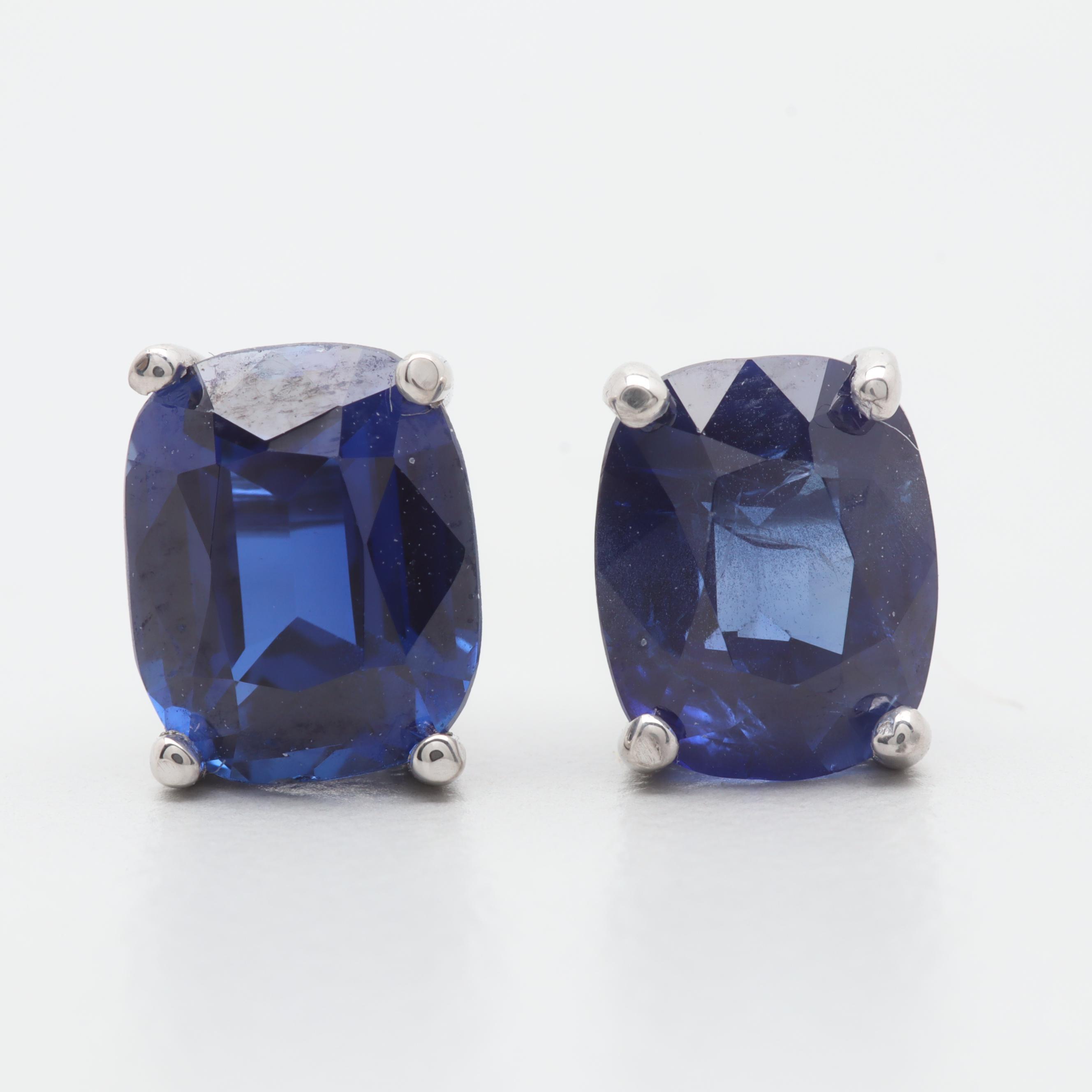 14K White Gold Synthetic Blue Sapphire Stud Earrings