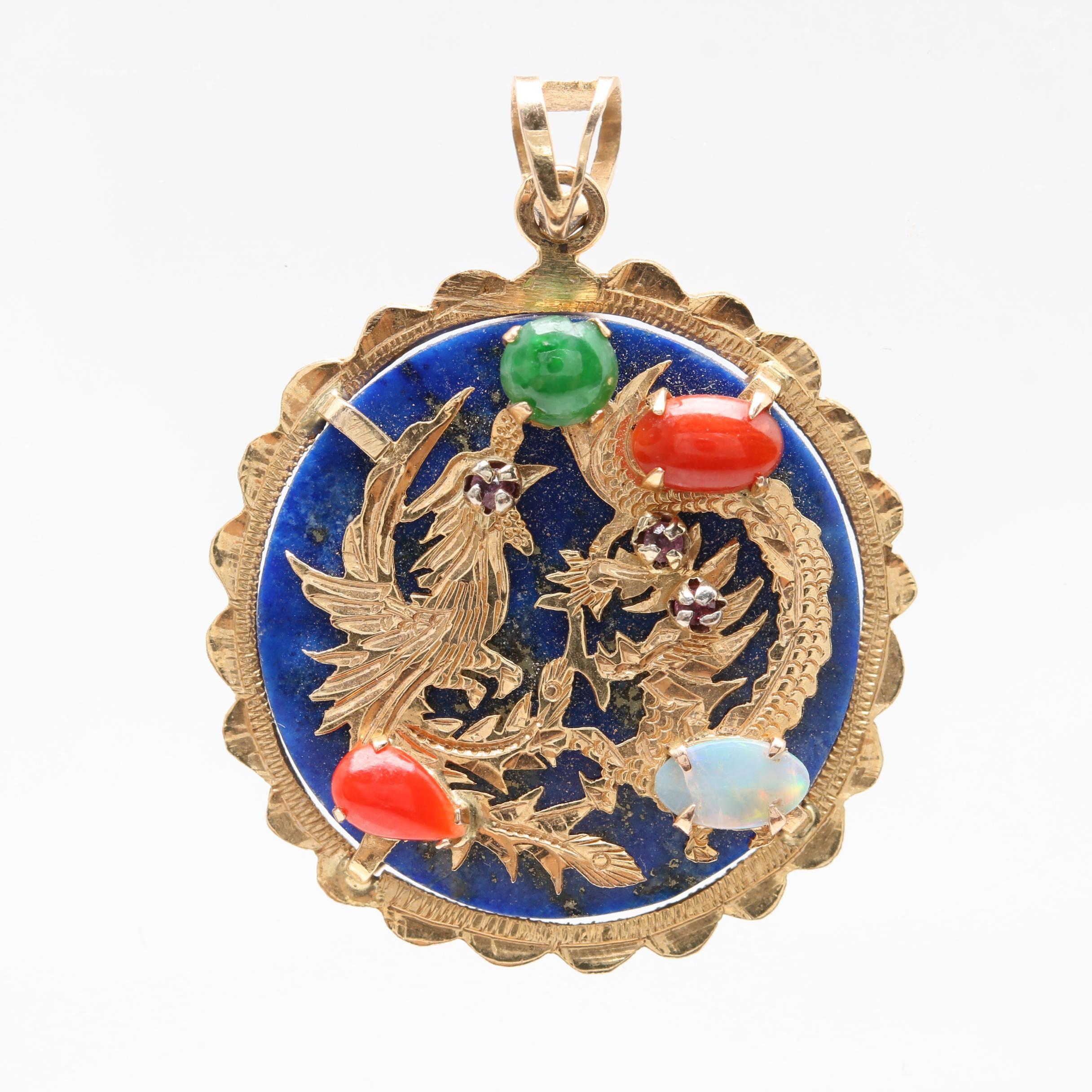 14K Yellow Gold Gemstone Phoenix and Dragon Pendant