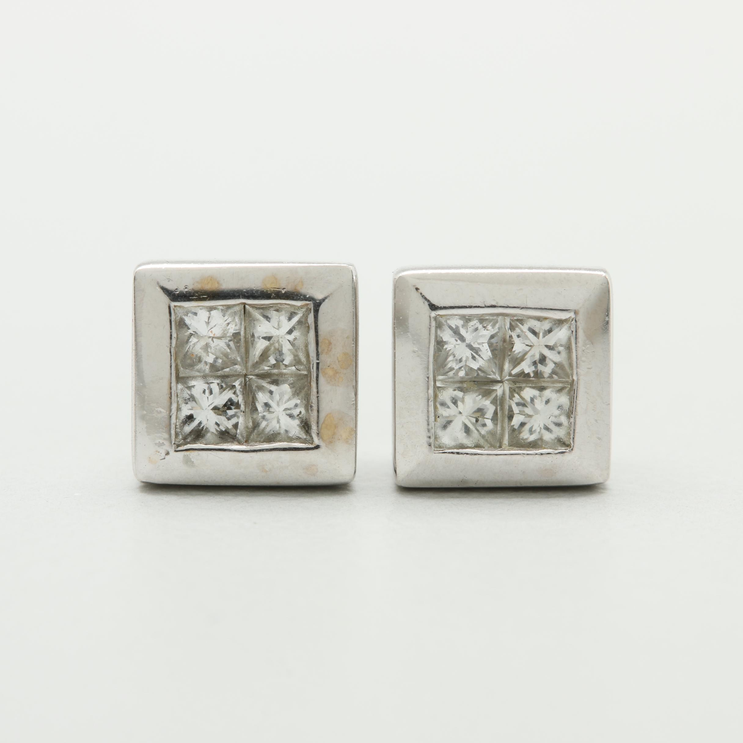 14K and 18K White Gold Diamond Earrings