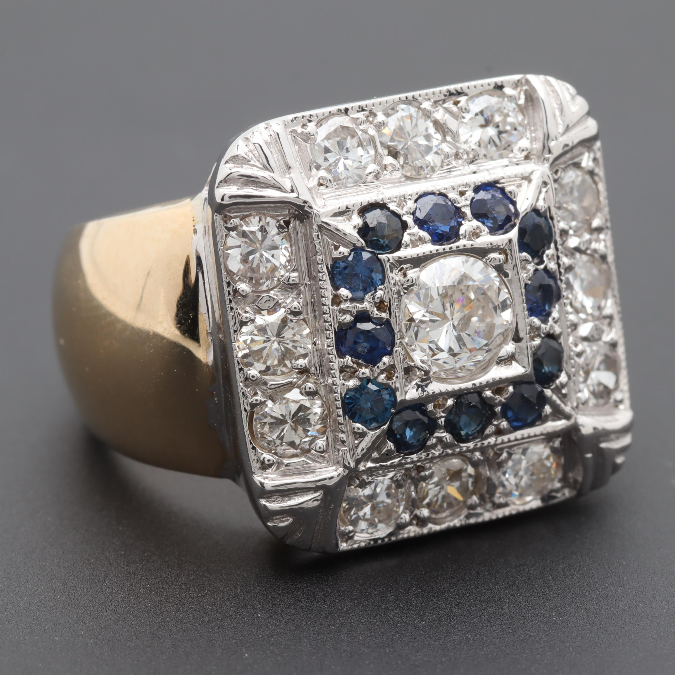 14K Yellow and White Gold 1.57 CTW Diamond and Sapphire Ring