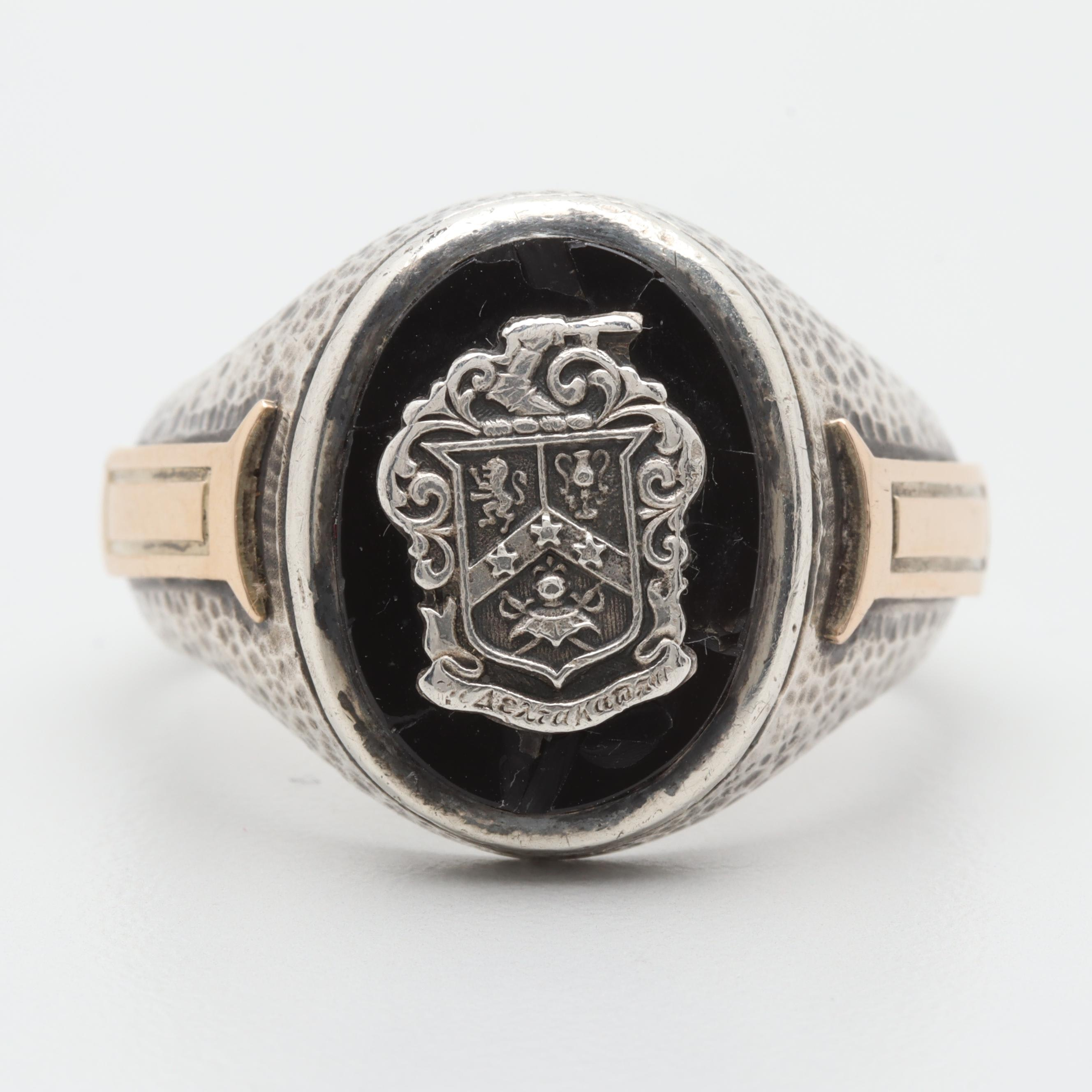 Sterling Silver Black Onyx Ring with 10K Yellow Gold Accents