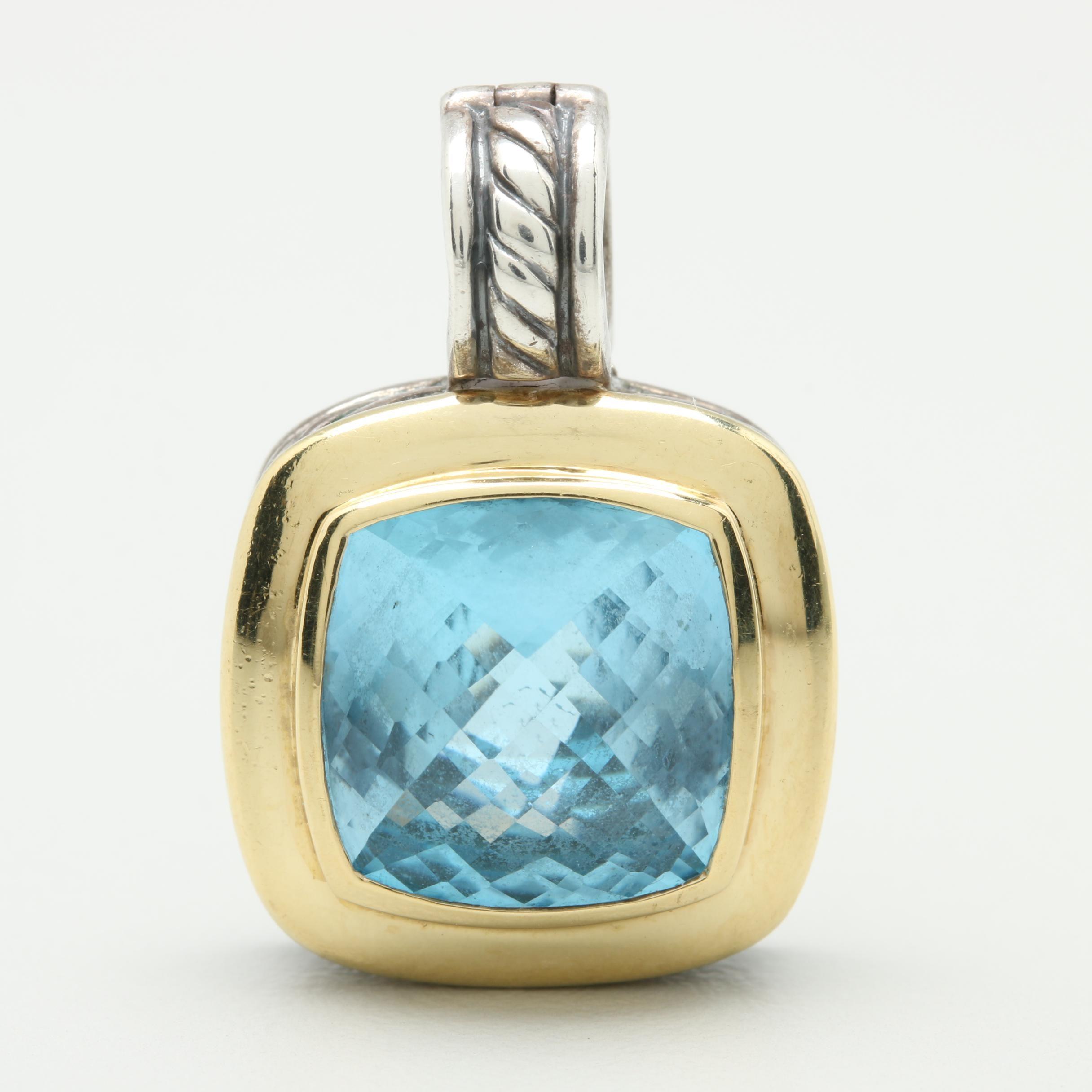 "David Yurman ""Albion"" Sterling Silver Blue Topaz Pendant with 18K Yellow Gold"