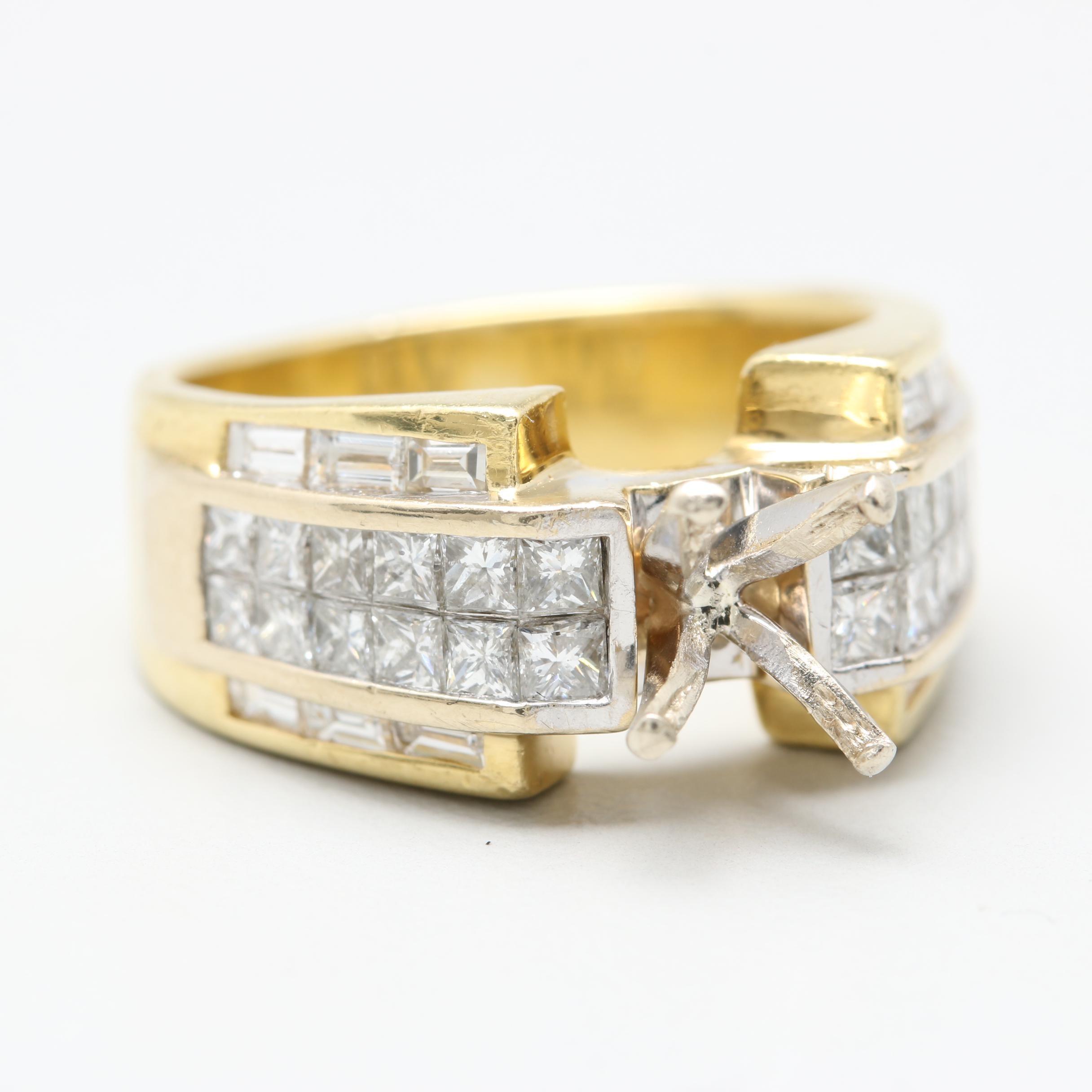 18K Yellow Gold 1.72 CTW Diamond Semi-Mount Ring