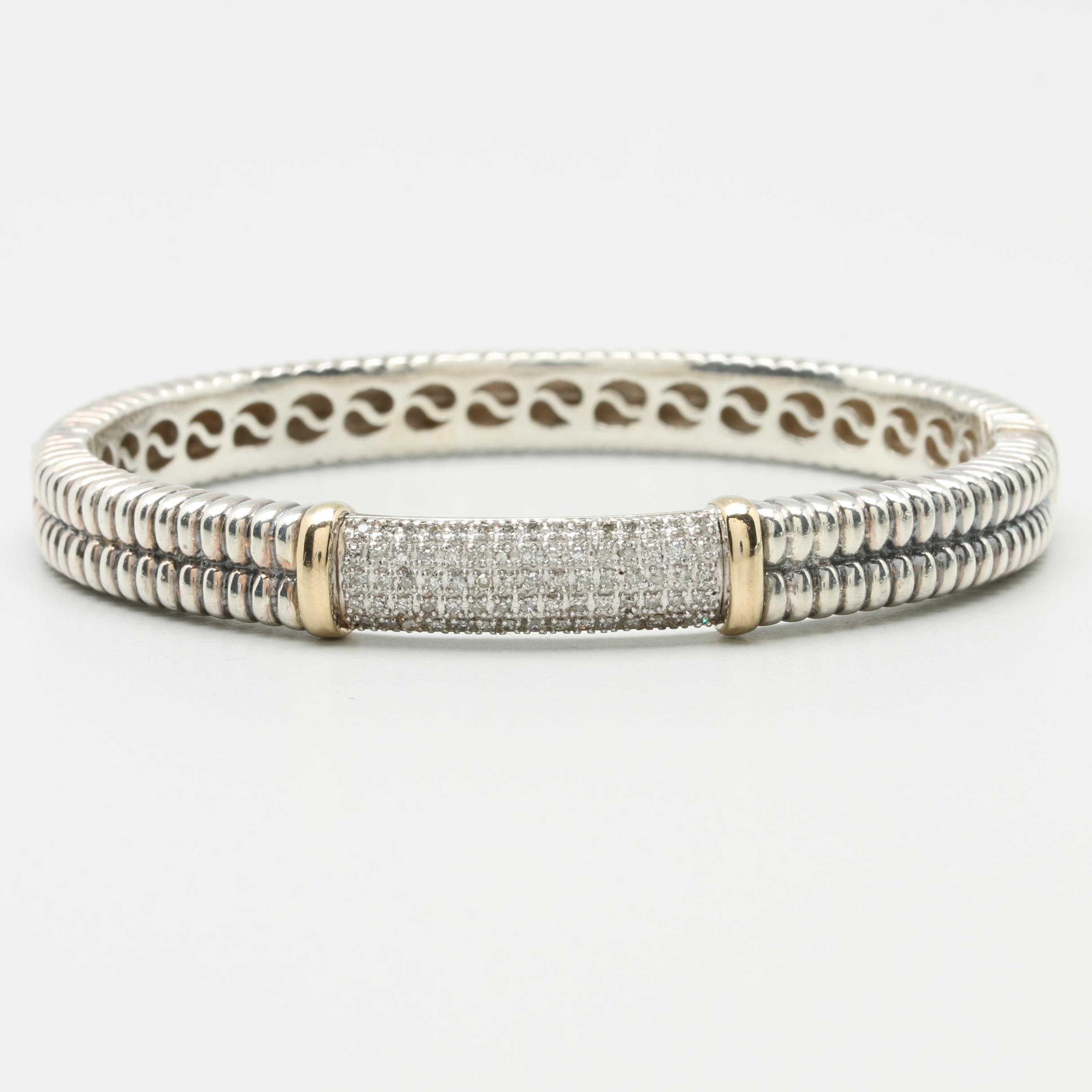 Sterling Silver Diamond Bangle Bracelet with 14K Yellow Gold Accents