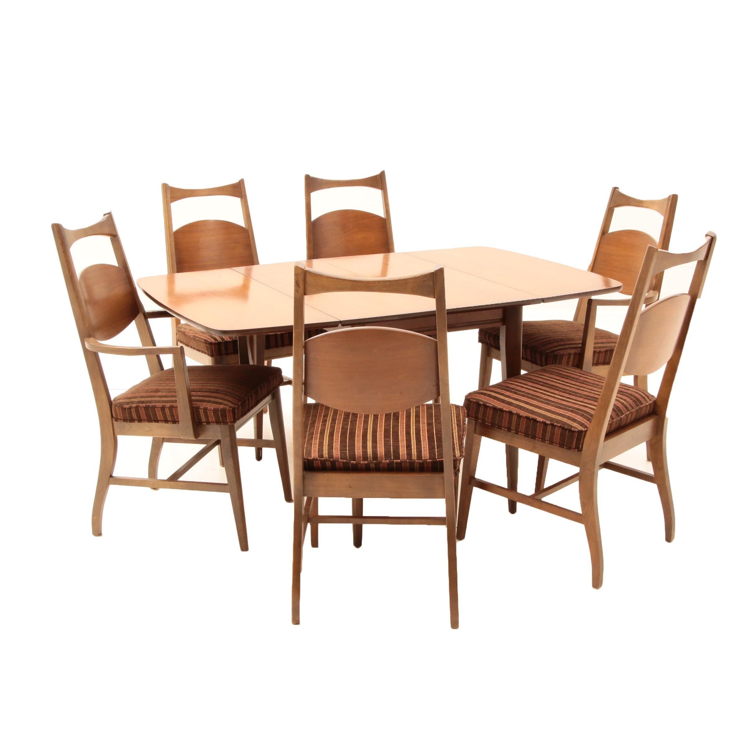 Bassett Walnut Drop-Leaf Table and Six Chairs