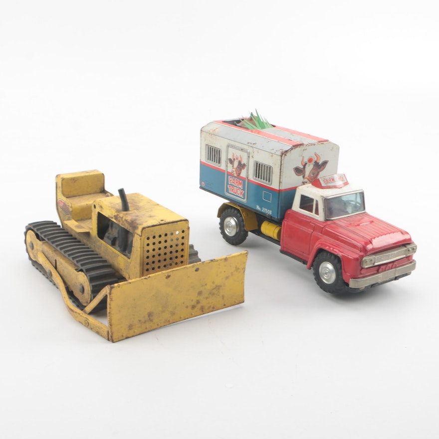 Tonka Bulldozer And Alps Battery Operated Farm Truck
