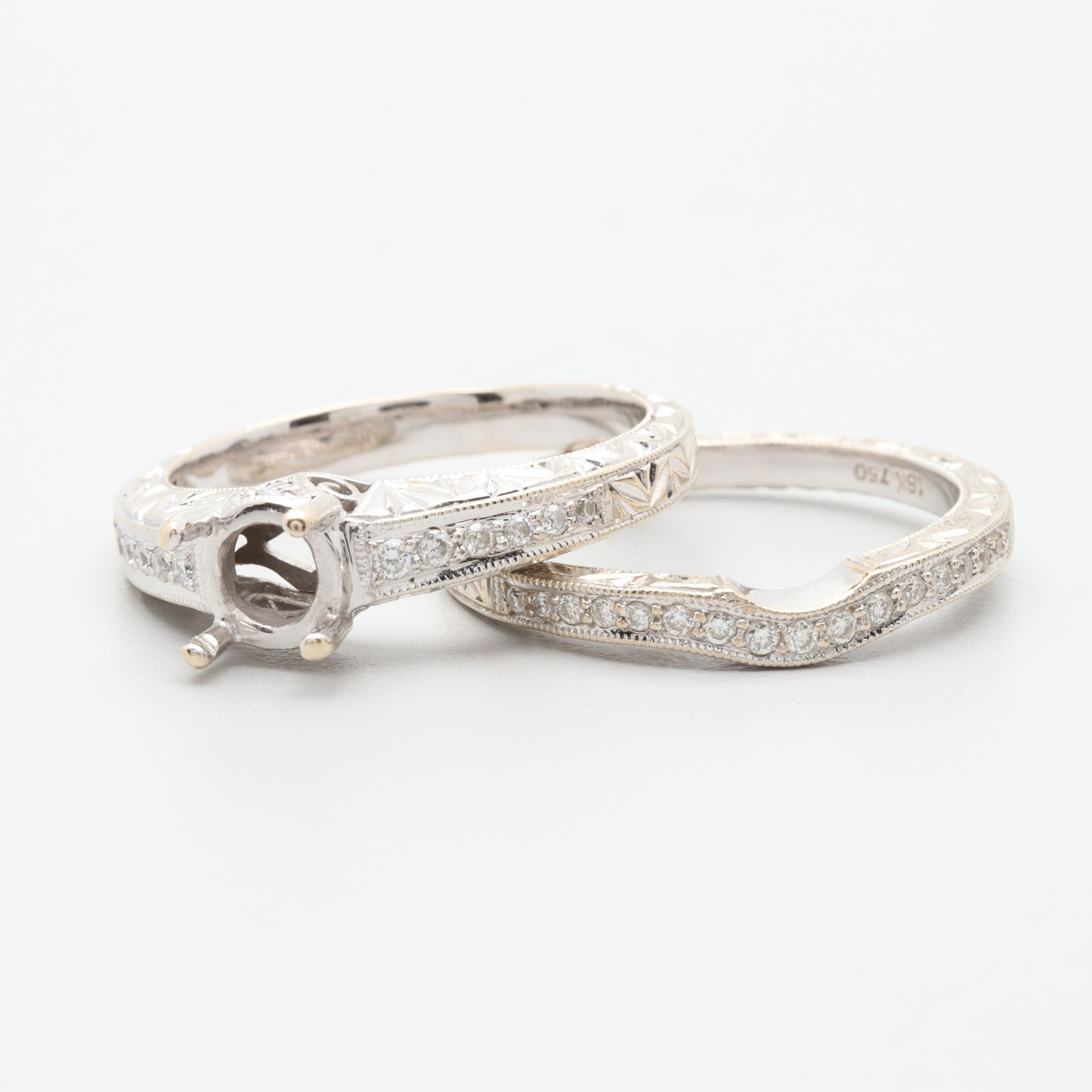 18K White Gold Semi-Mount Diamond Ring Set