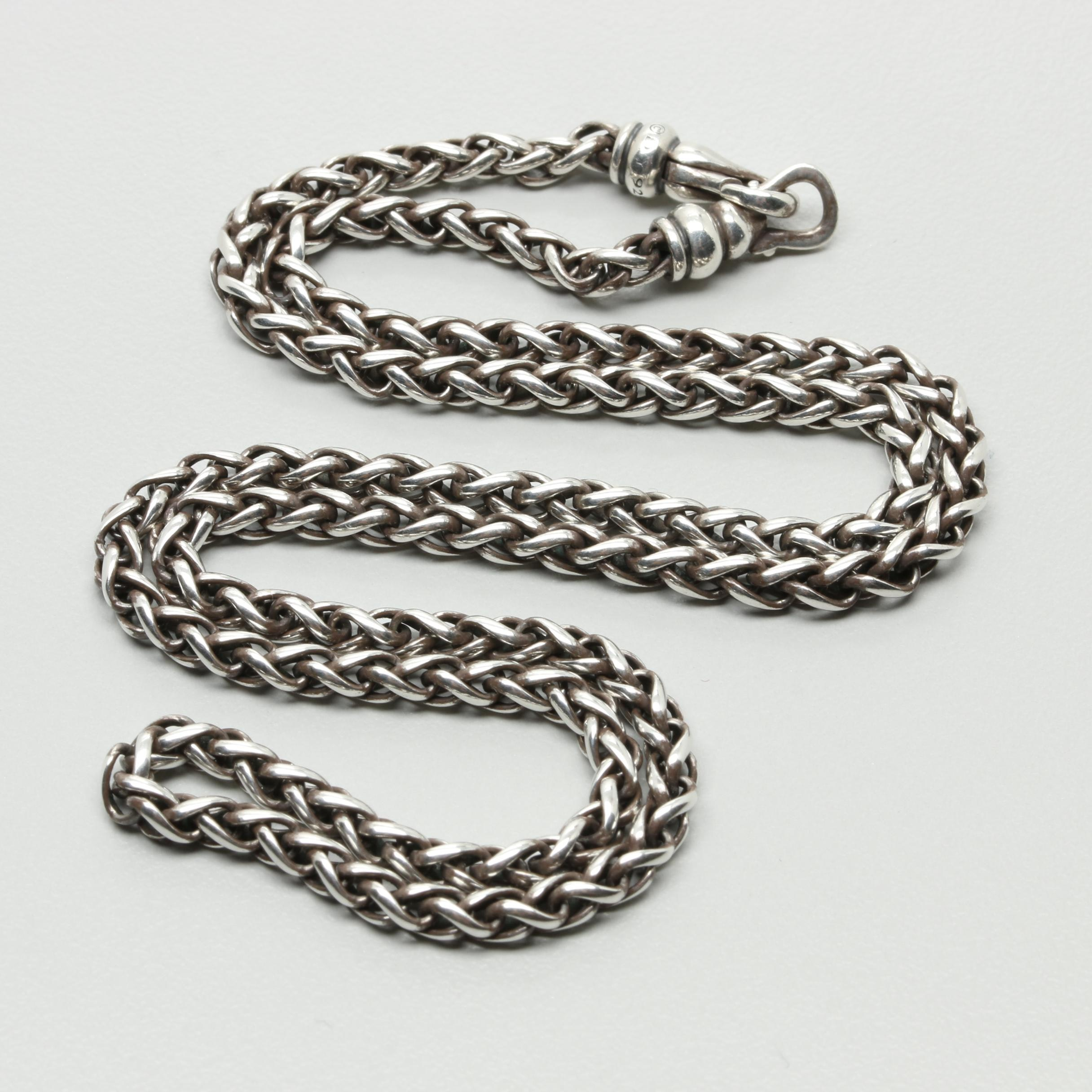 David Yurman Sterling Silver Wheat Chain Necklace