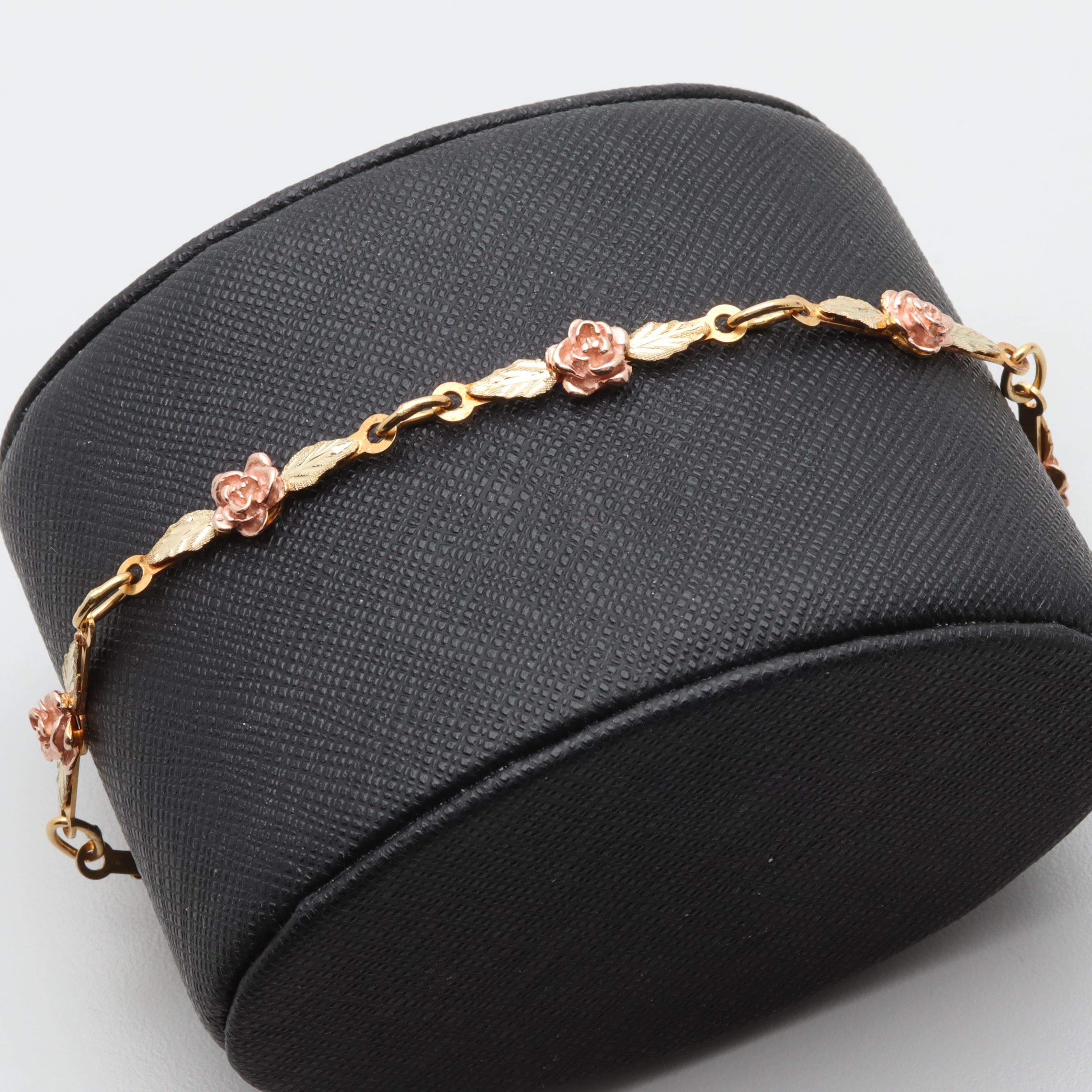 12K Yellow Gold Floral Motif Bracelet With Rose Gold Accents