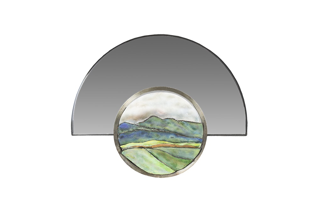 Contemporary Wall Mirror with Enameled Landscape