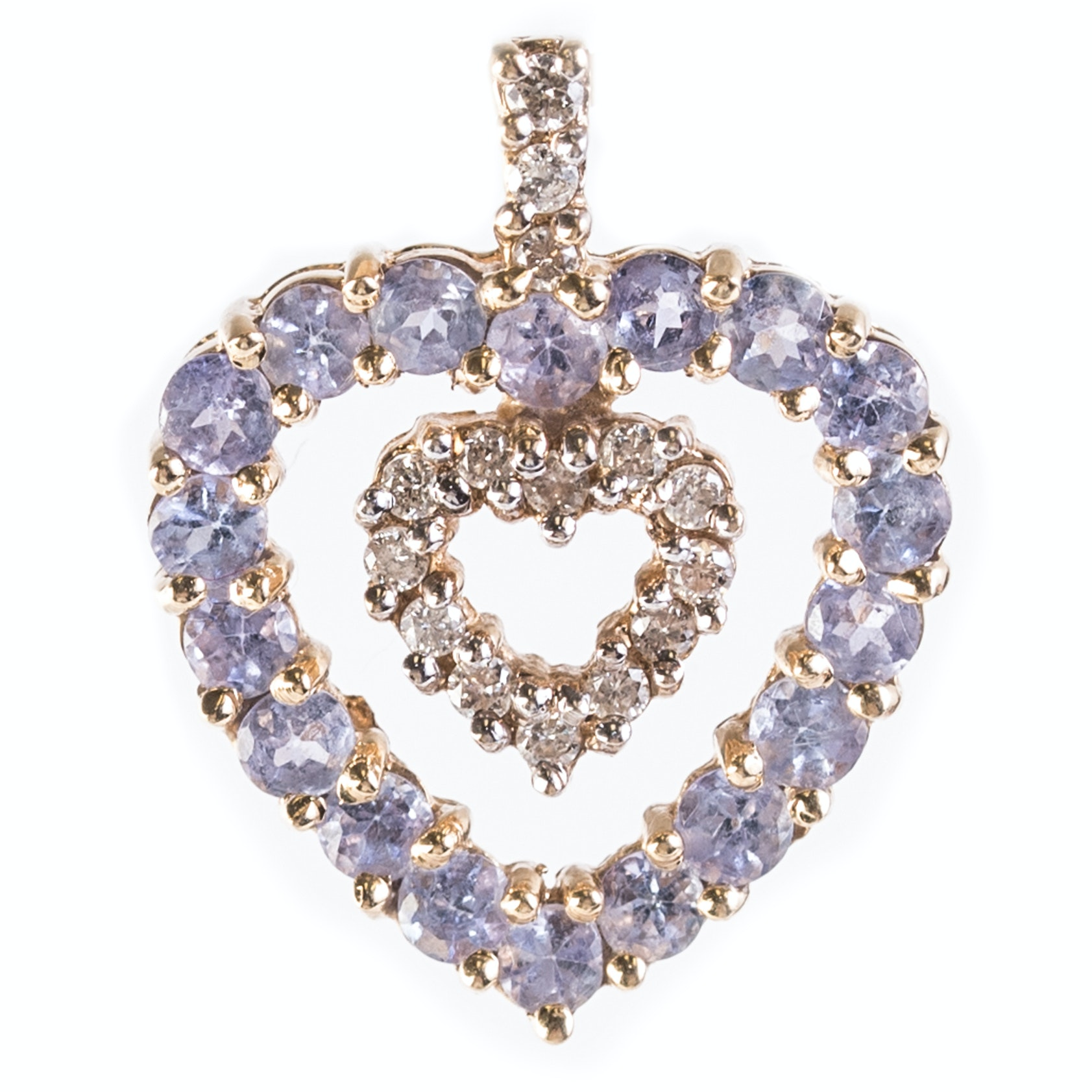 14K Yellow Gold, 1.44 CTW Tanzanite, and Diamond Double Open Heart Pendant