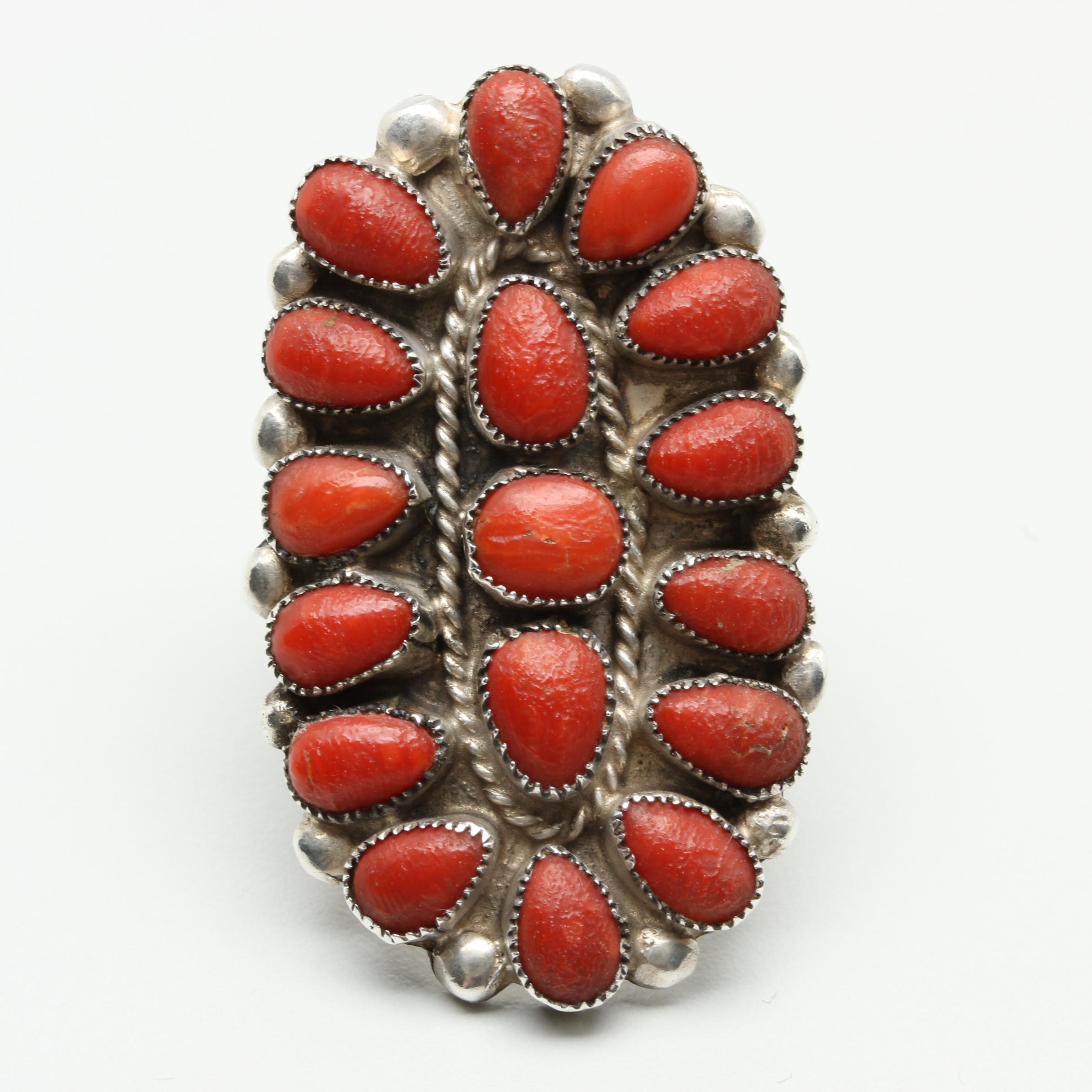 Southwestern Style Sterling Silver Coral Ring