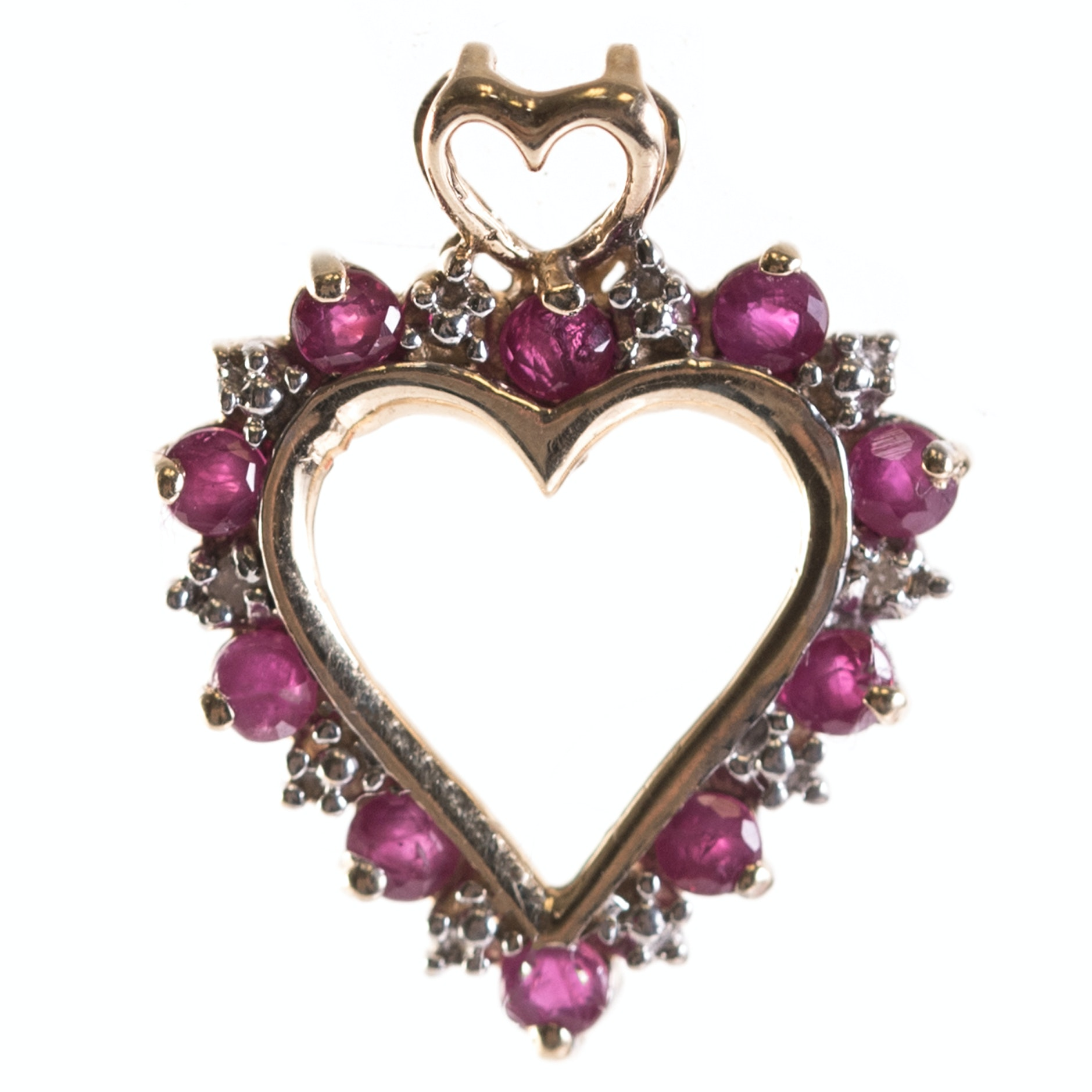 10K Yellow Gold, Ruby, and Diamond Open Heart Pendant
