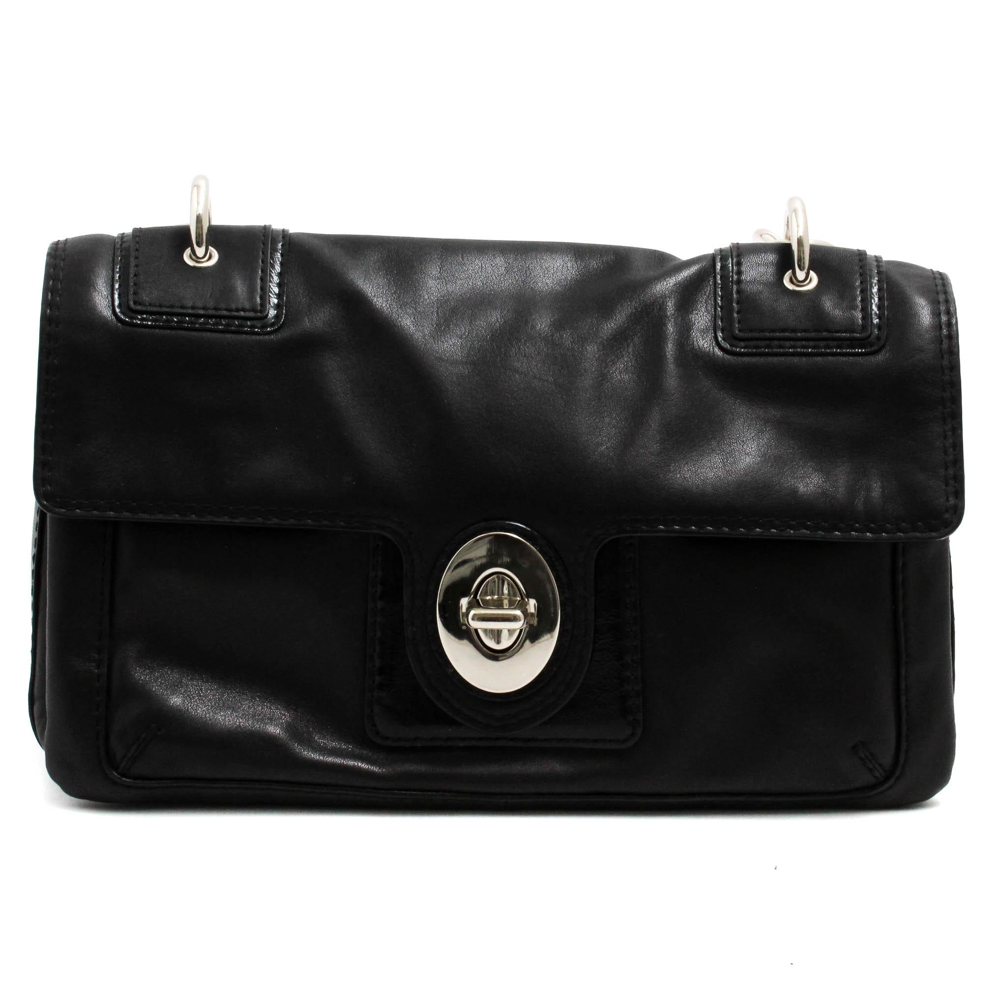 Coach Peyton Black Leather Flap Shoulder Bag