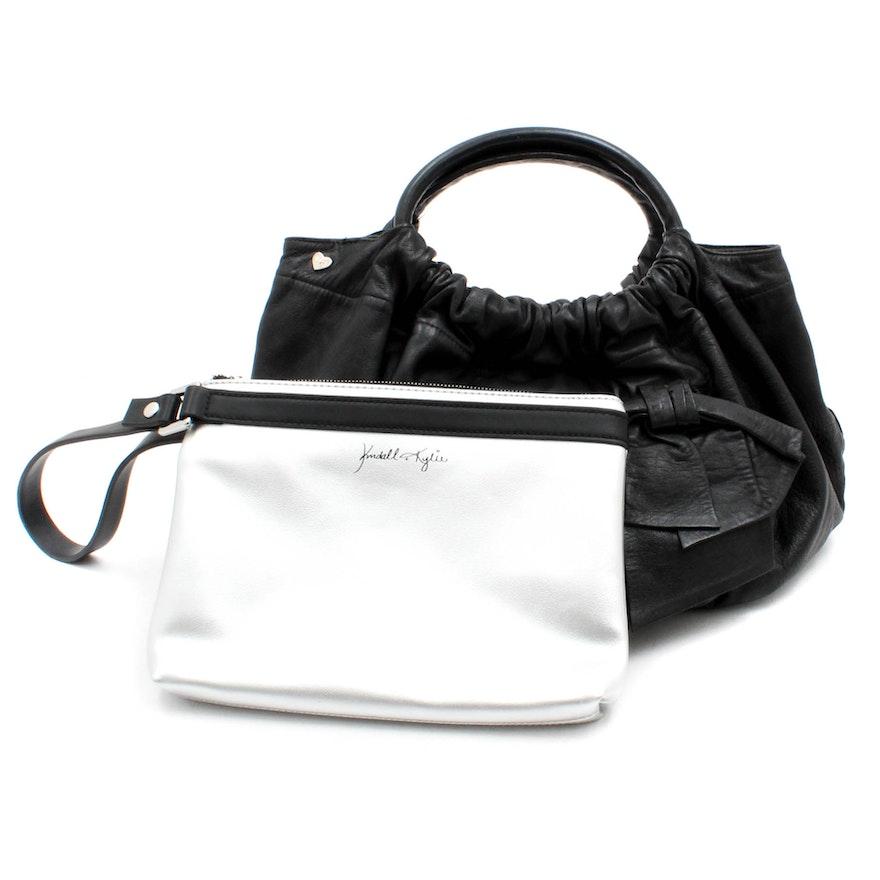 Kendall Kylie Metallic Leather And Felix Rey New York Black Handbags