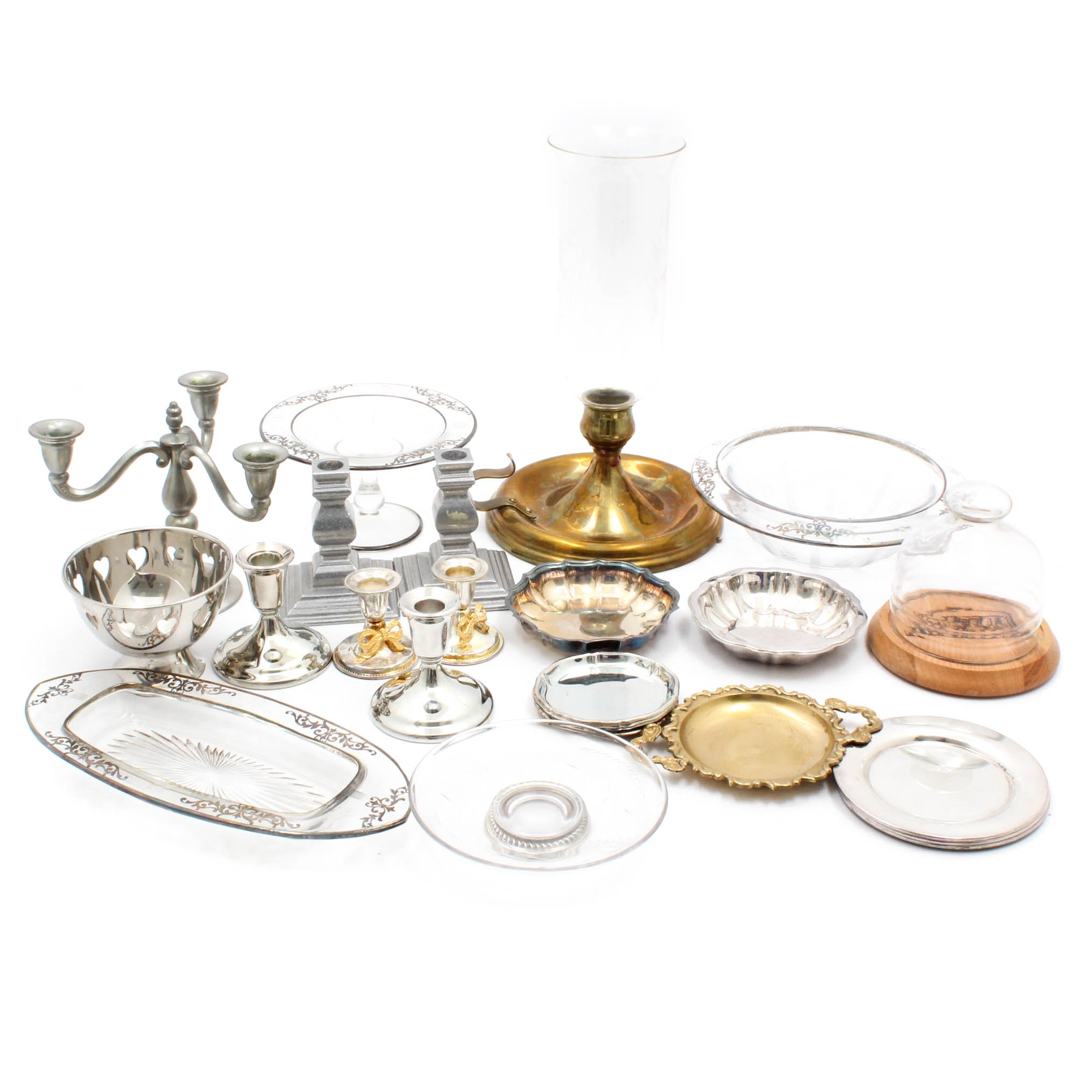 Glass, Silver Plate and Metal Serveware and Candlesticks