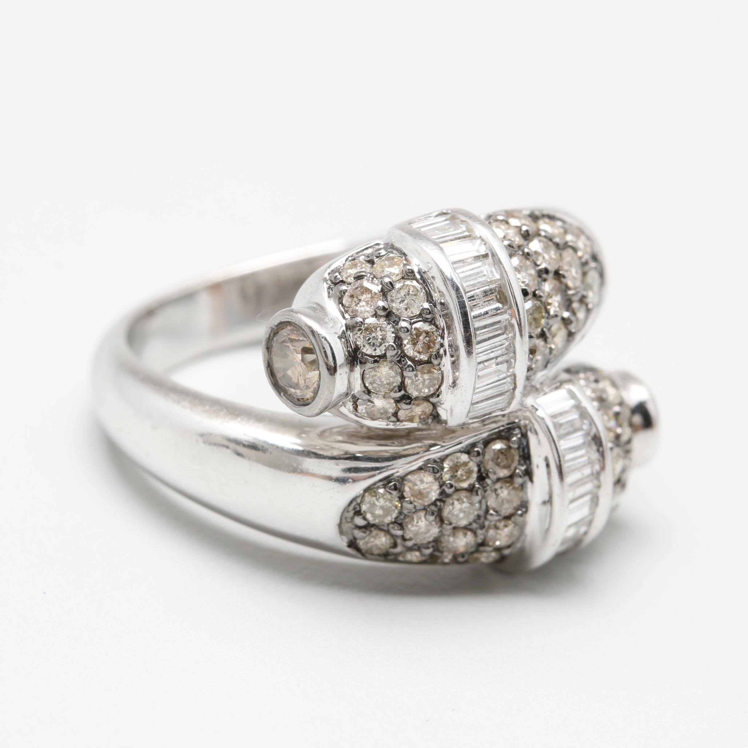 14K White Gold 1.43 CTW Diamond Bypass Ring