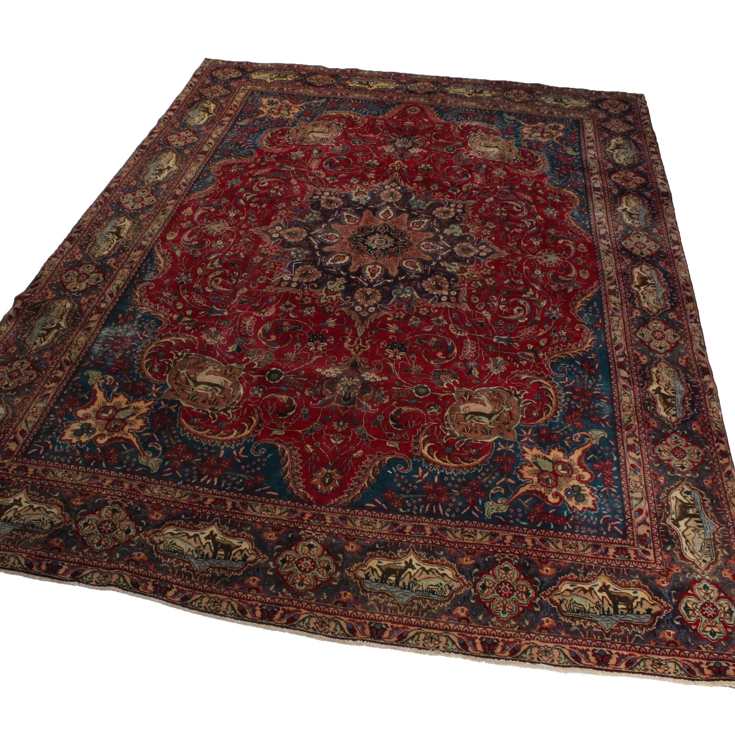 Vintage Hand-Knotted Persian Archaeological Kashmir Room Sized Rug