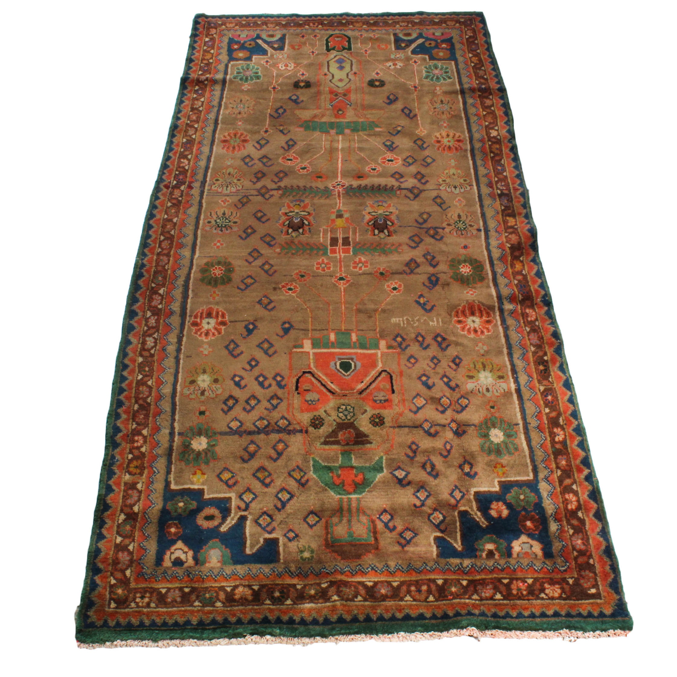 Vintage Hand-Knotted Signed Persian Viss Area Rug