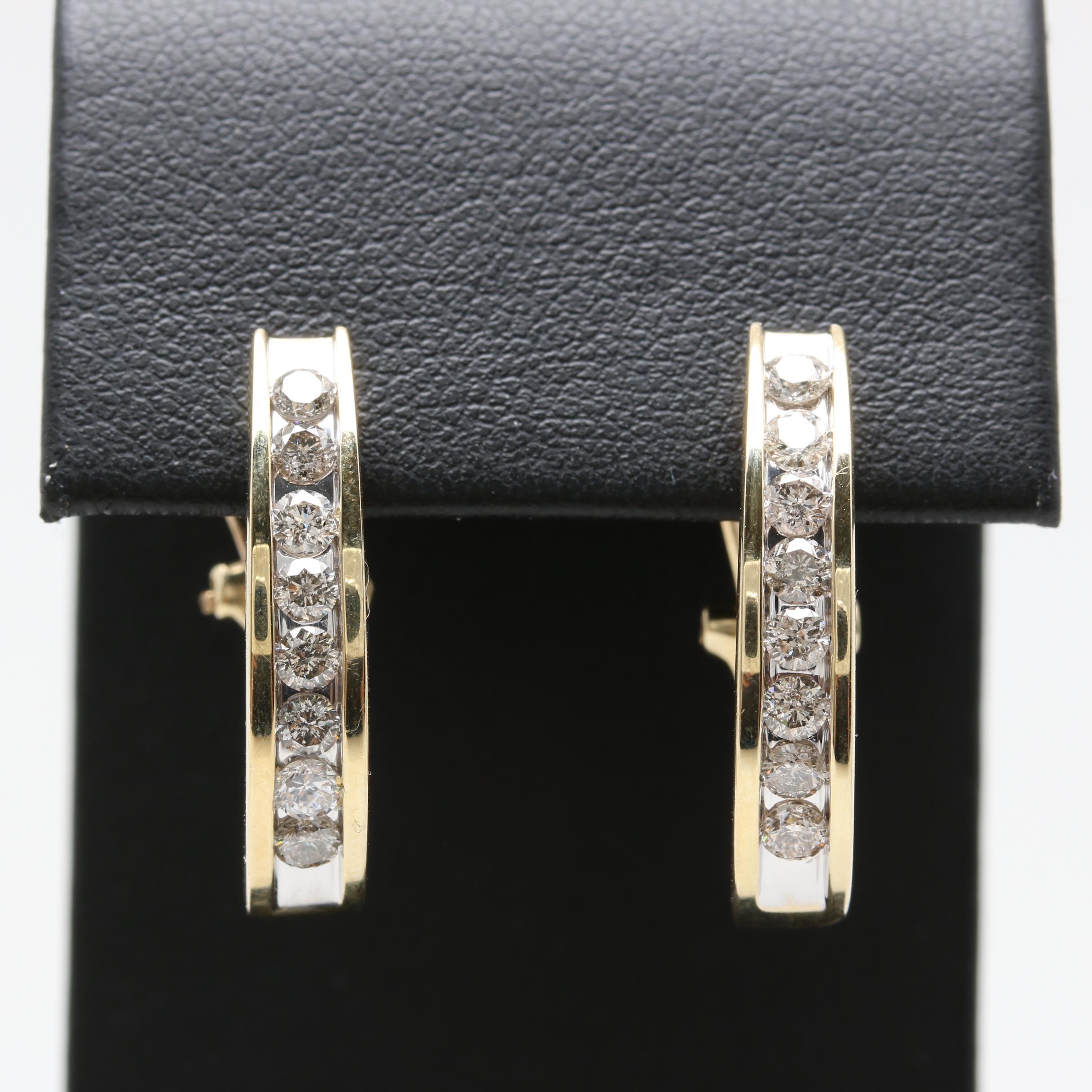 10K Yellow Gold 0.96 CTW Diamond Earrings