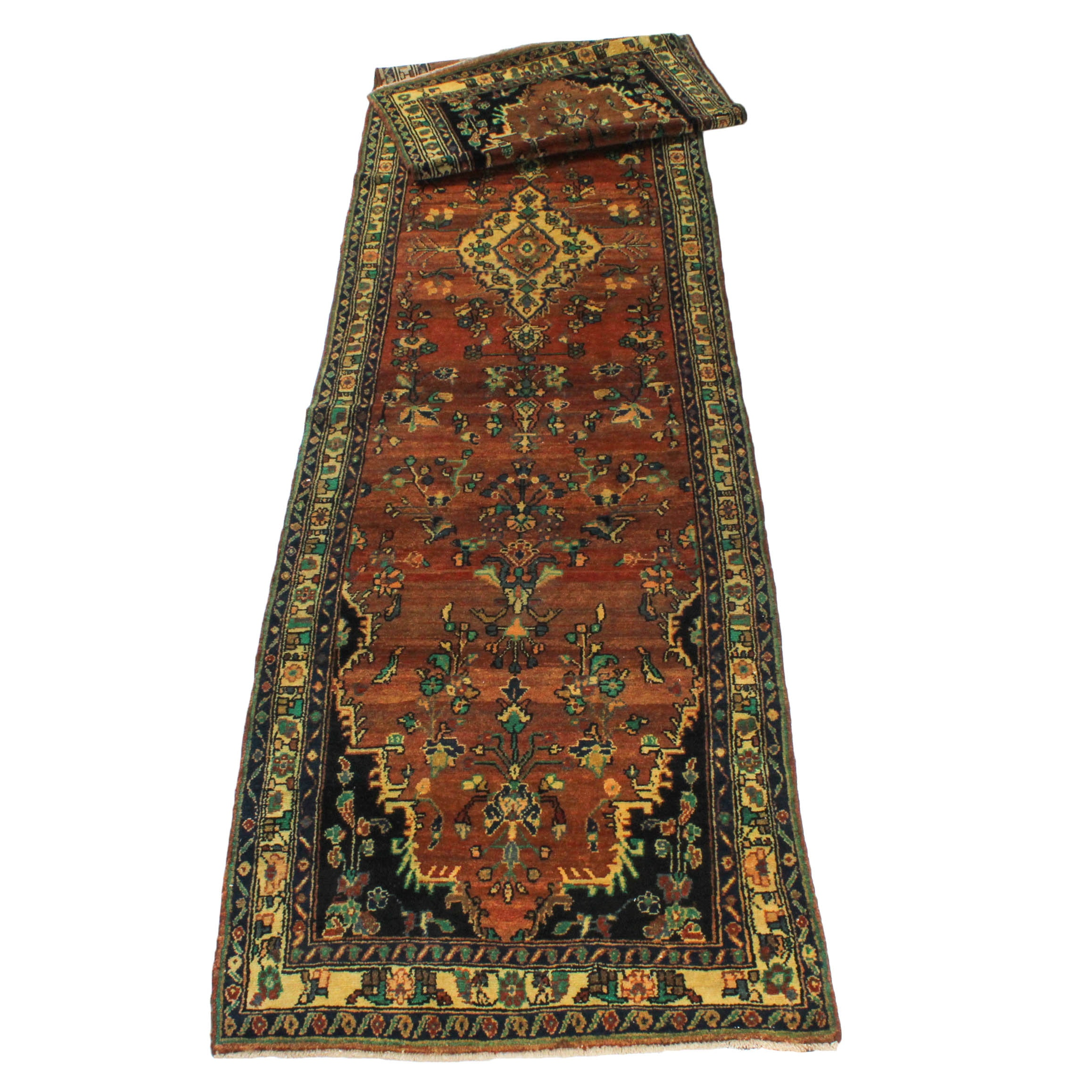 Vintage Hand-Knotted Persian Malayer Sarouk Long Rug