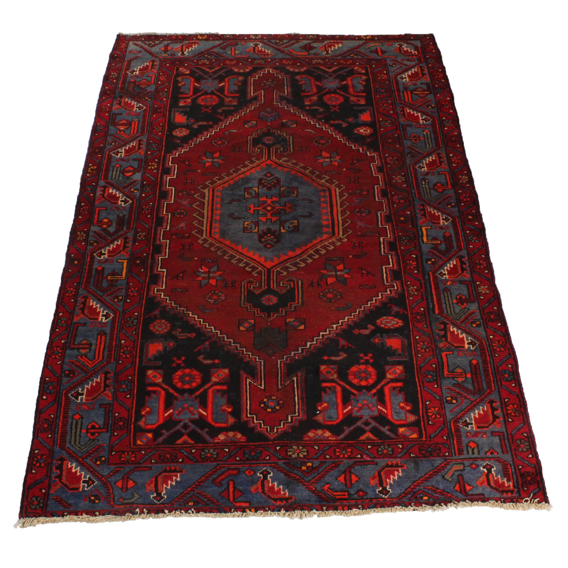 Vintage Hand-Knotted Persian Bowenat Area Rug