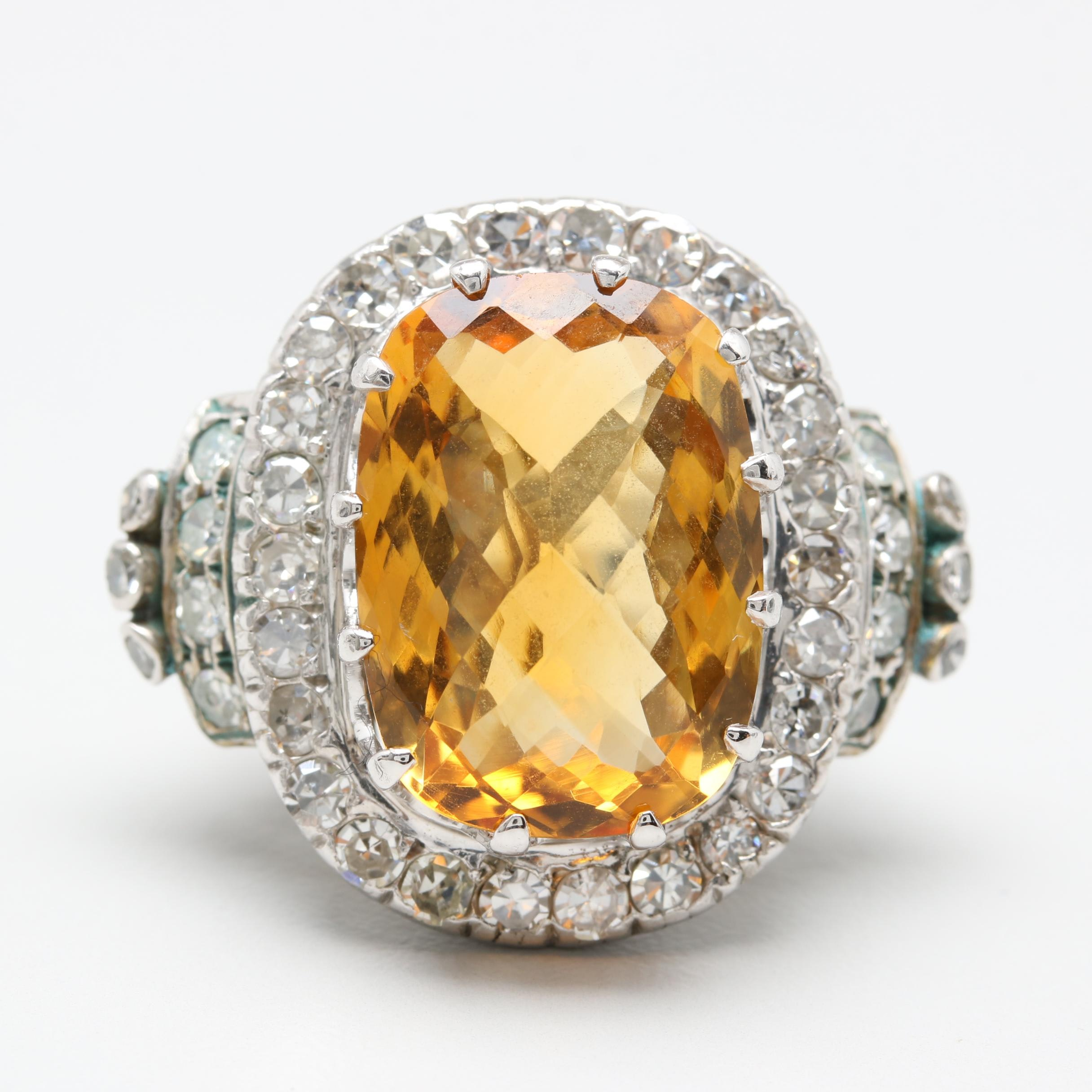 10K and 14K White Gold 12.44 CT Citrine and 1.57 CTW Diamond Ring