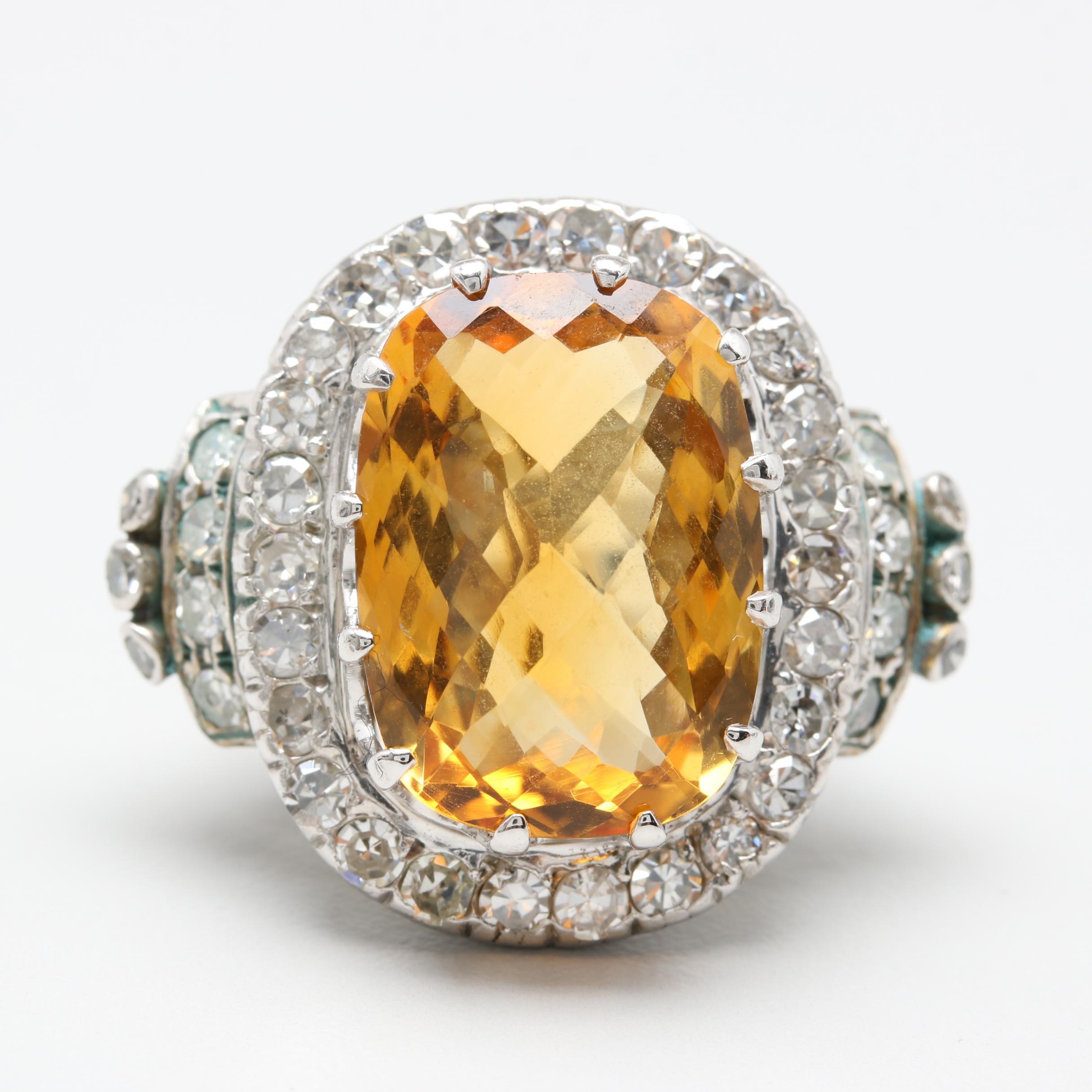 10K and 14K White Gold 12.44 CT Citrine and 1.57 CTW Diamond Ring