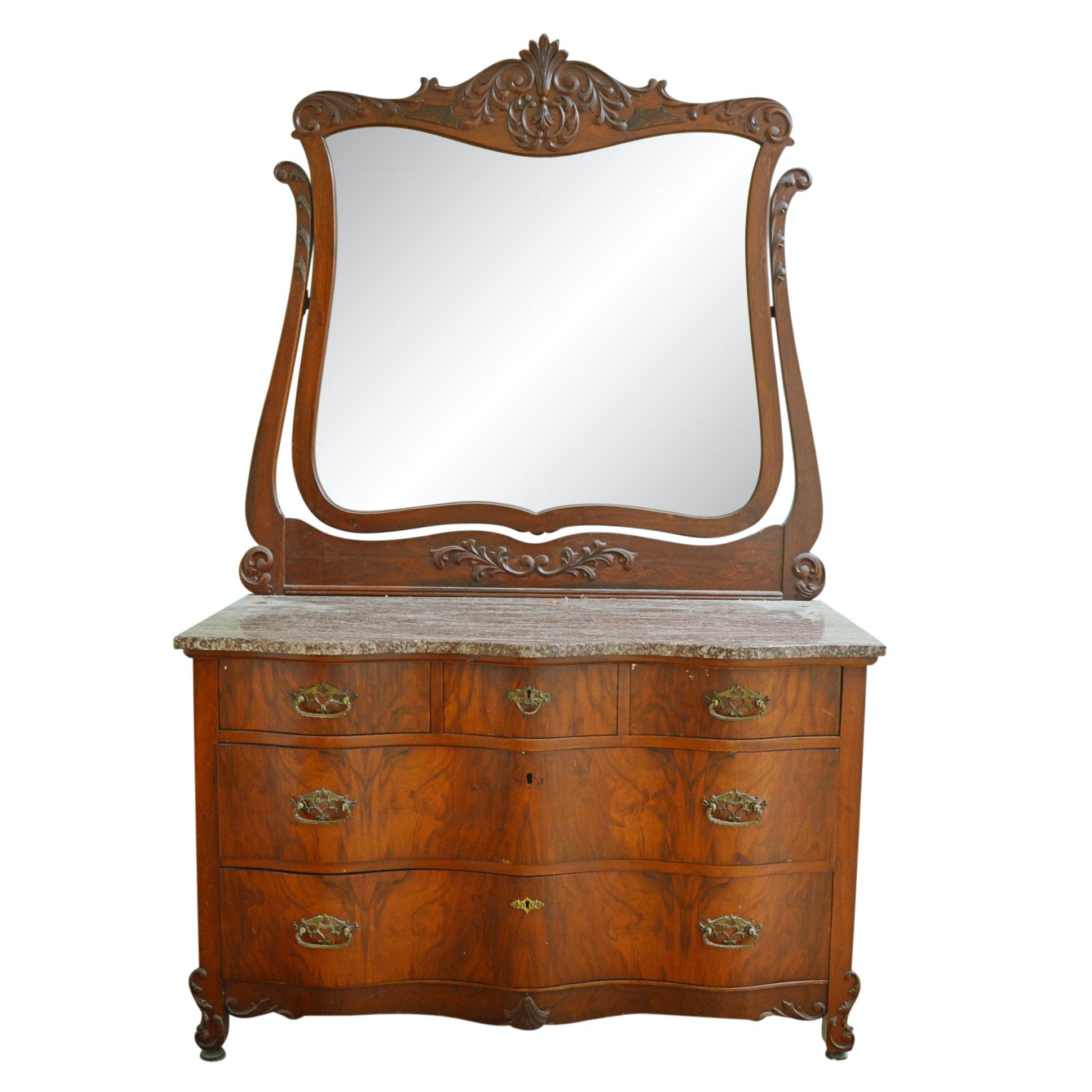 Victorian Flame Burl Marble Top Serpentine Dresser with Wishbone Mirror