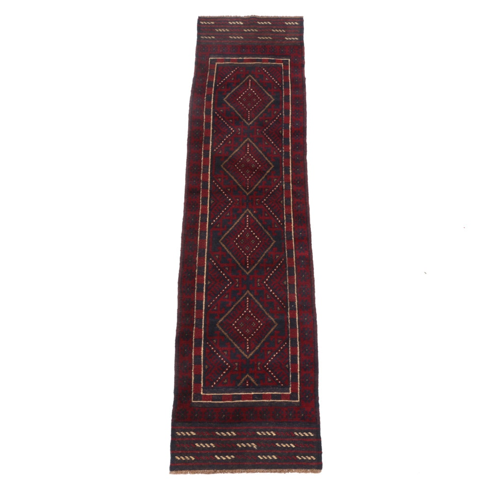 Handwoven and Embroidered Baluch Carpet Runner