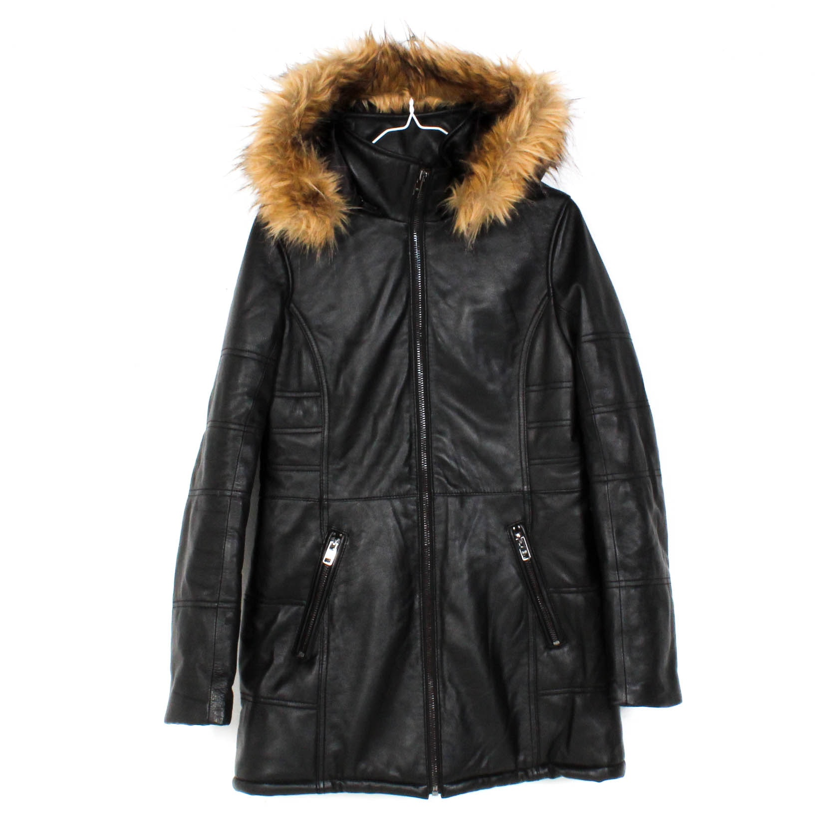Black Rivet Black Leather Hooded Coat with Faux Fur Trim