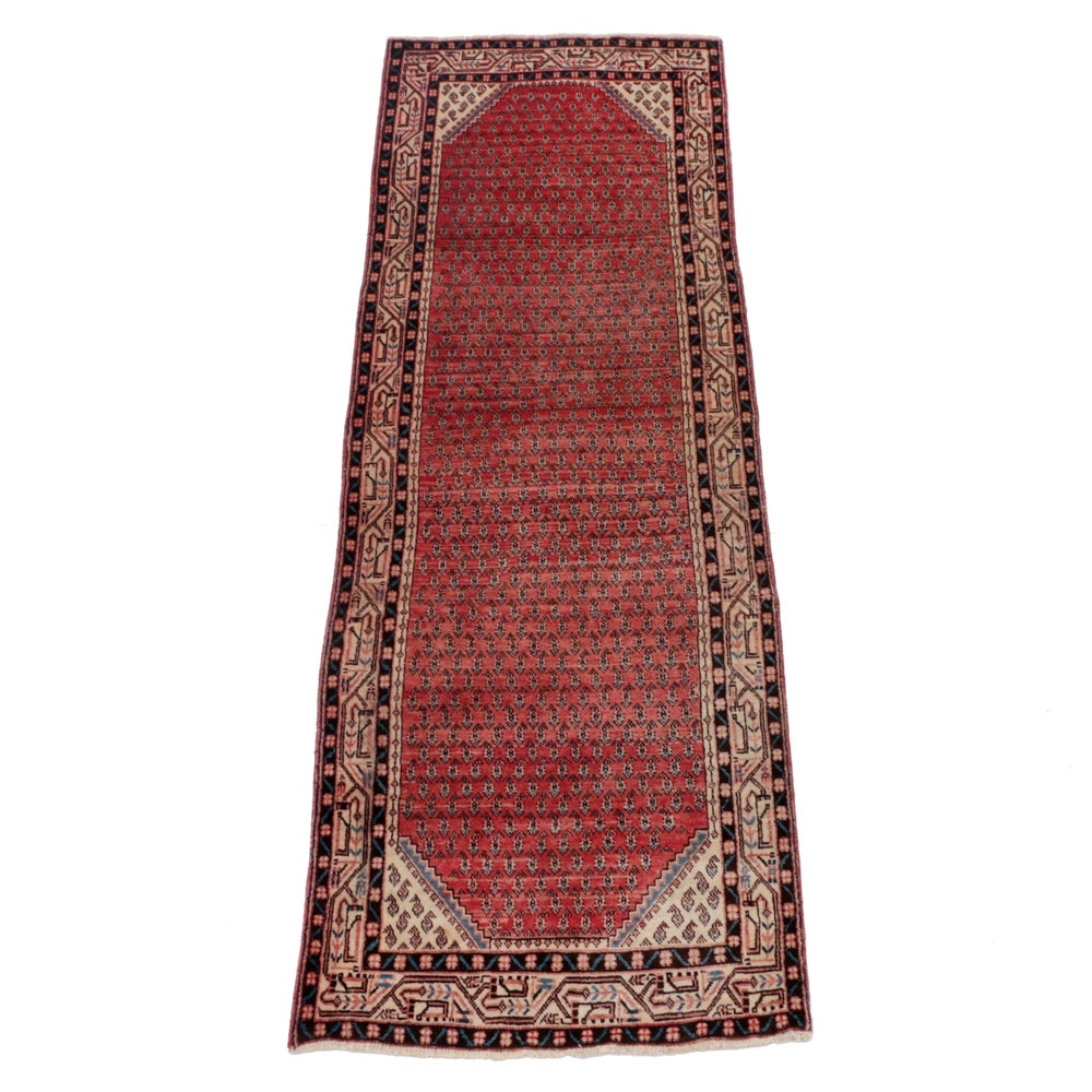 Vintage Hand-Knotted Persian Boteh Rug Runner