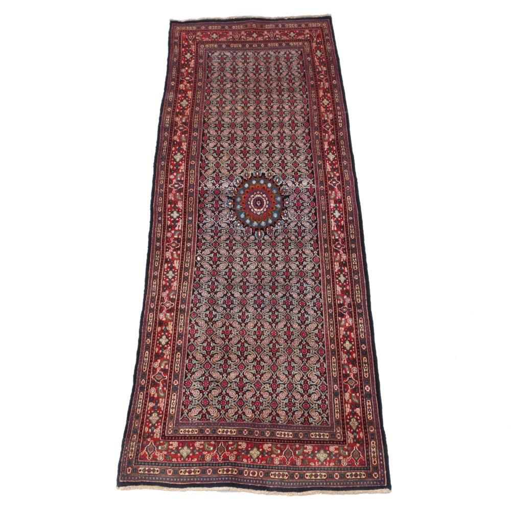 Vintage Hand-Knotted Moud Bijar Carpet Runner