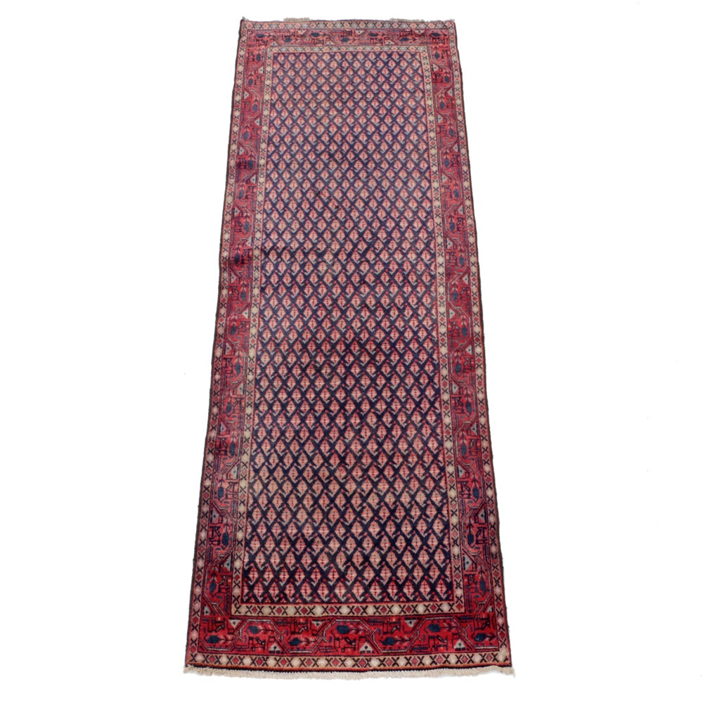 Vintage Hand-Knotted Persian Boteh Carpet Runner