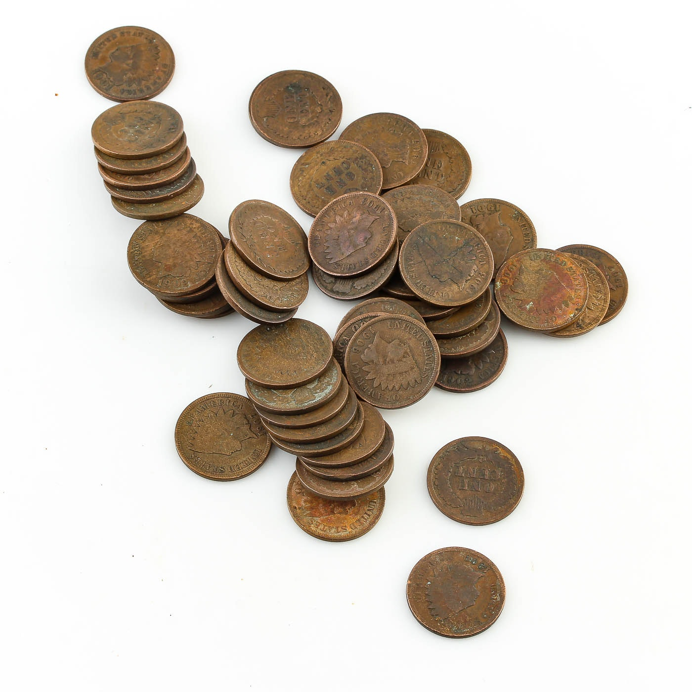 Group of Fifty Indian Head Cents
