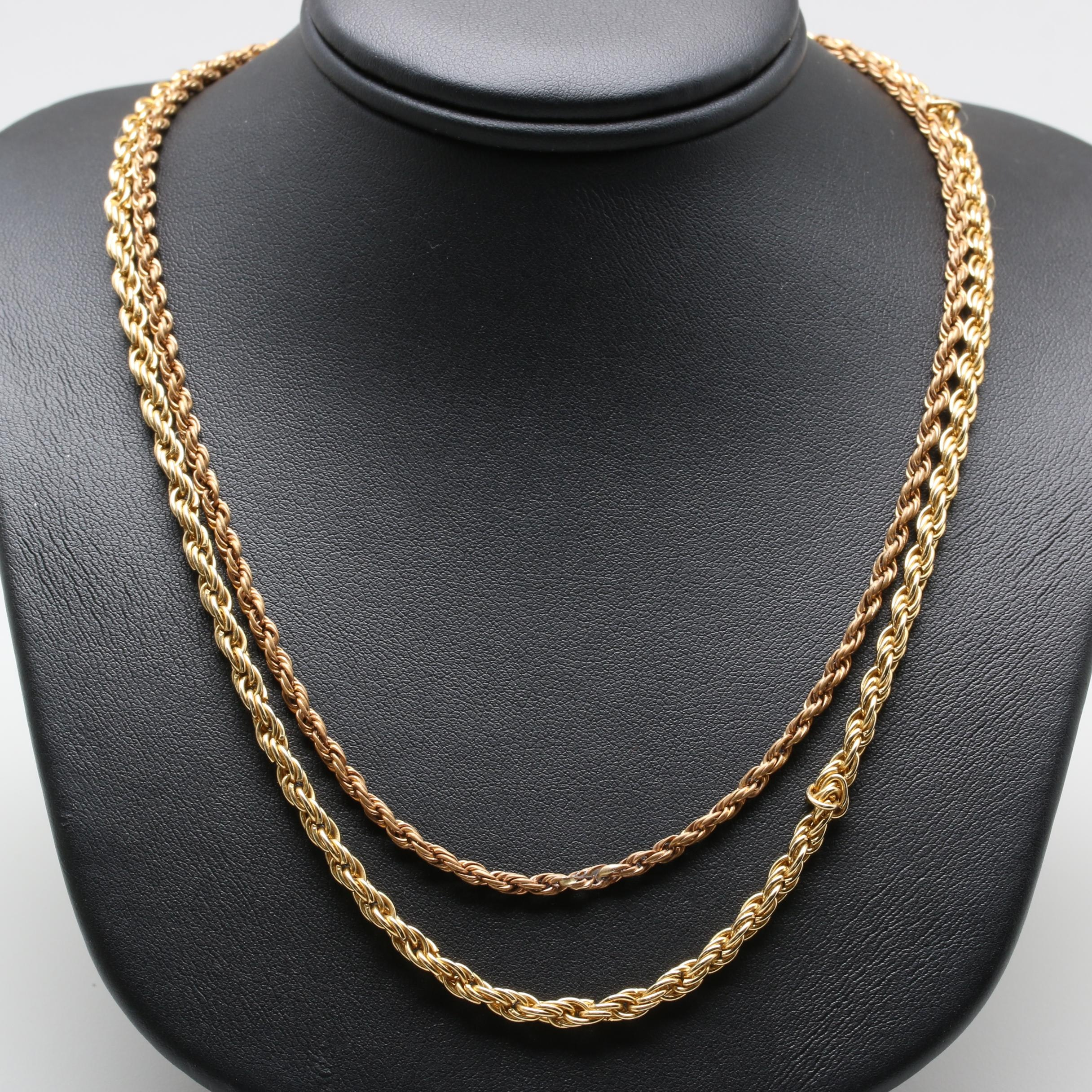 Gold Tone Chain Necklaces Including 14K Gold Findings