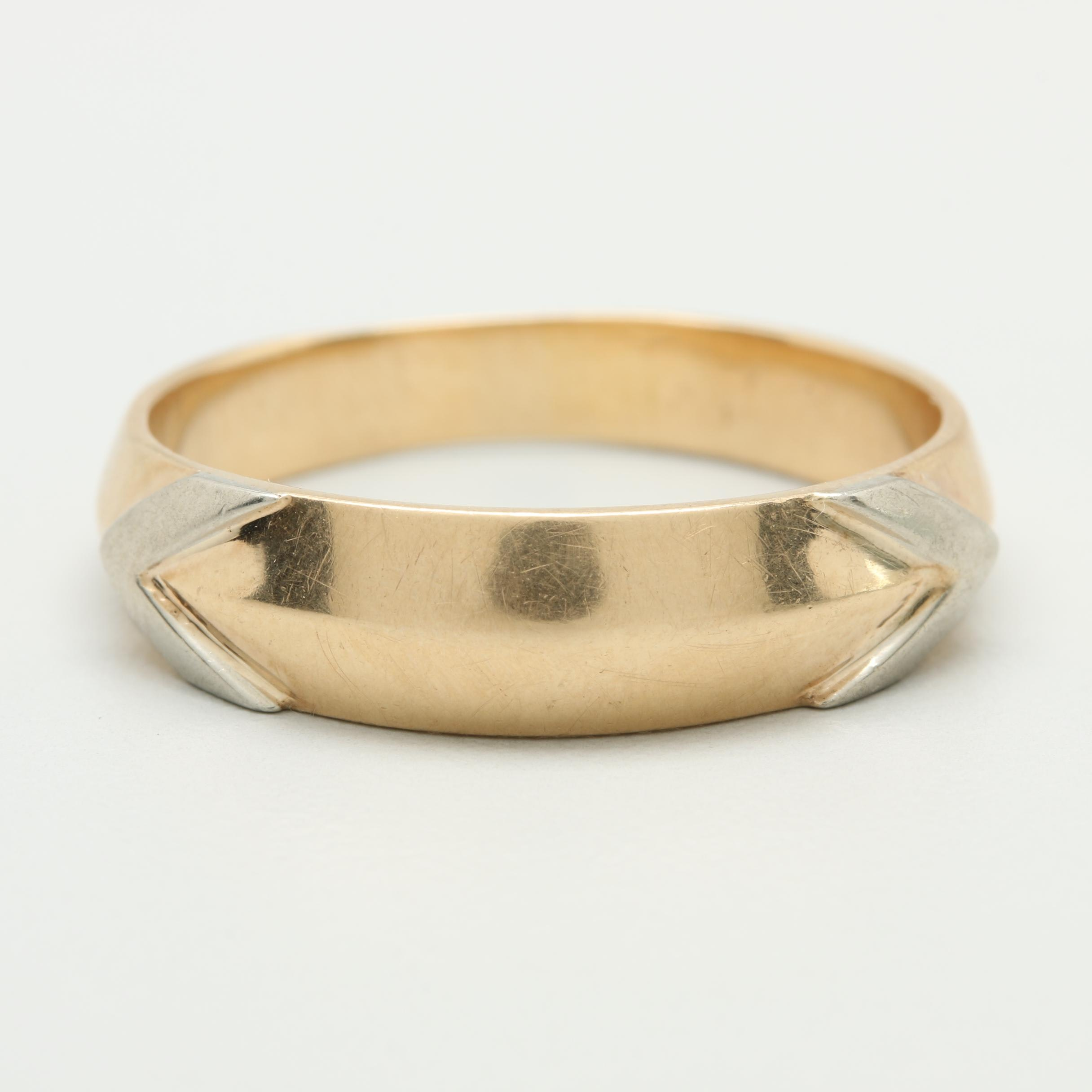 14K Yellow Gold Ring With White Gold Accents