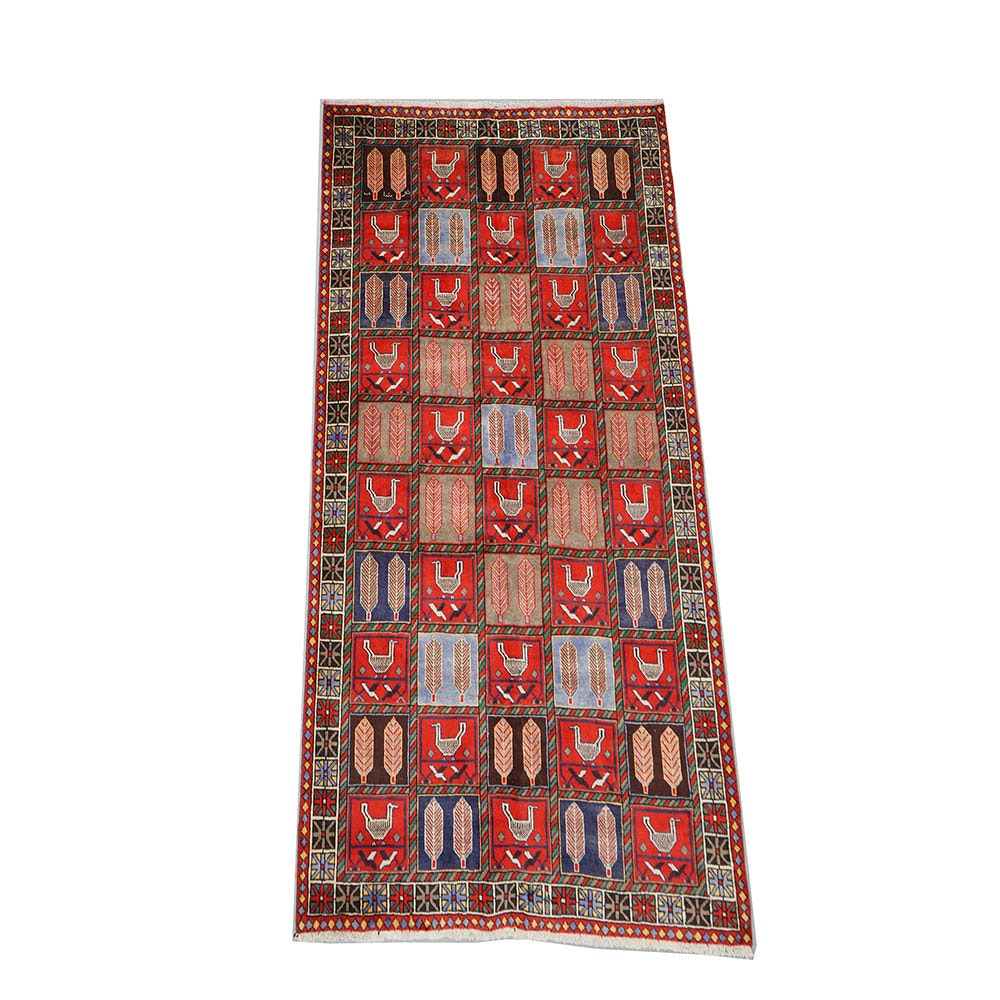 Hand-Knotted Inscribed Garden Panel Wool Area Rug