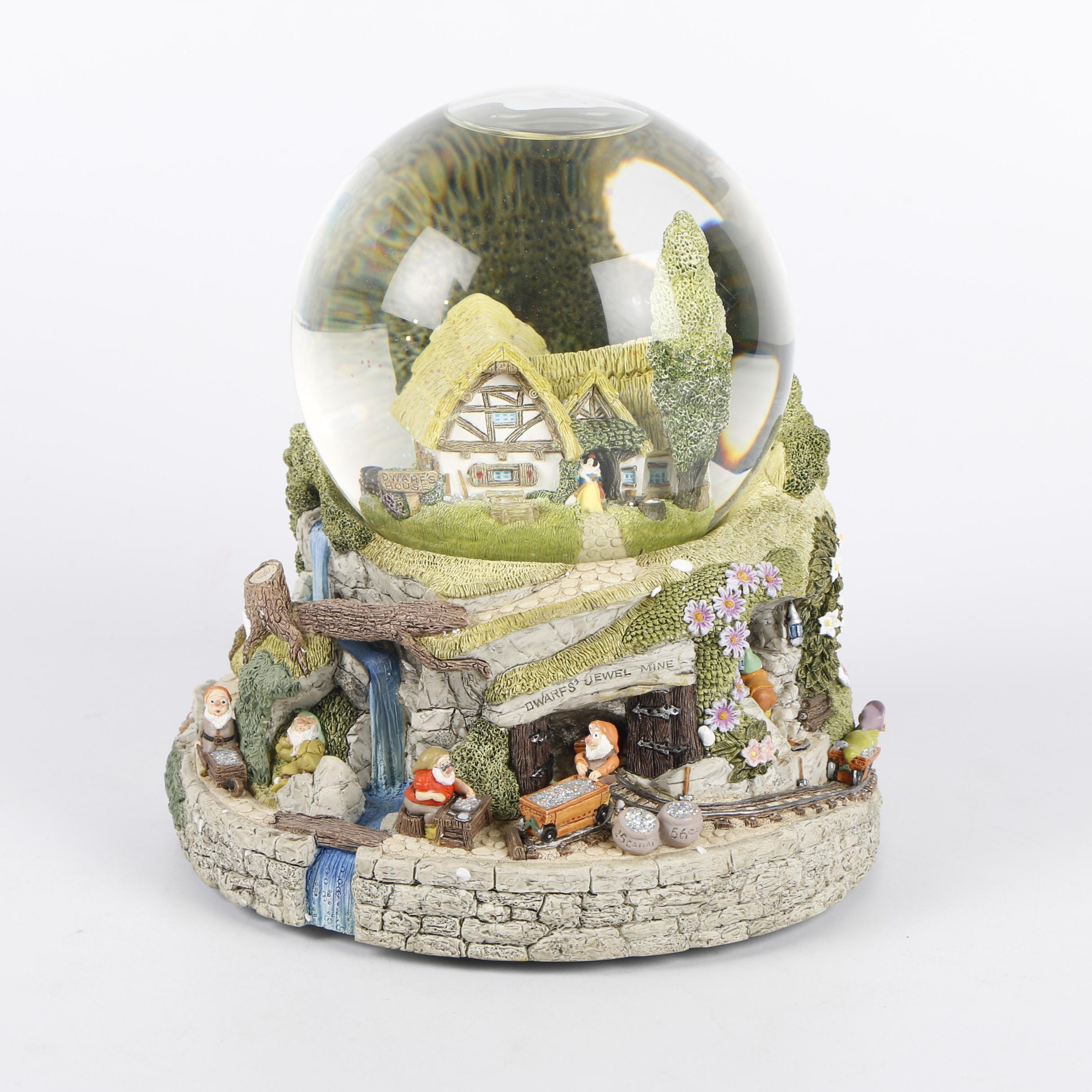 "Disney's ""Snow White and The Seven Dwarfs"" Musical Cottage Snow Globe"