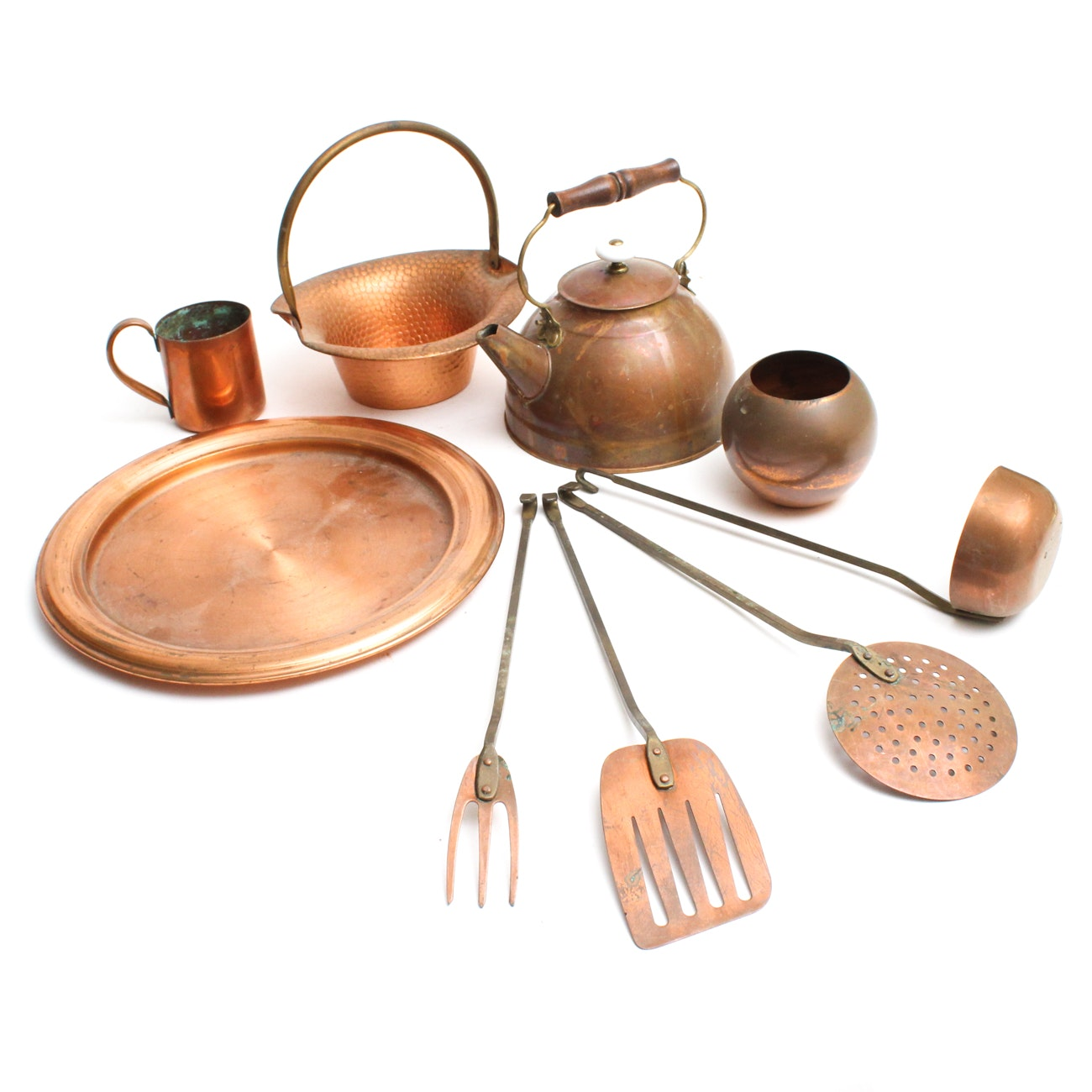 Vintage Copper Pots, Utensils and Serveware