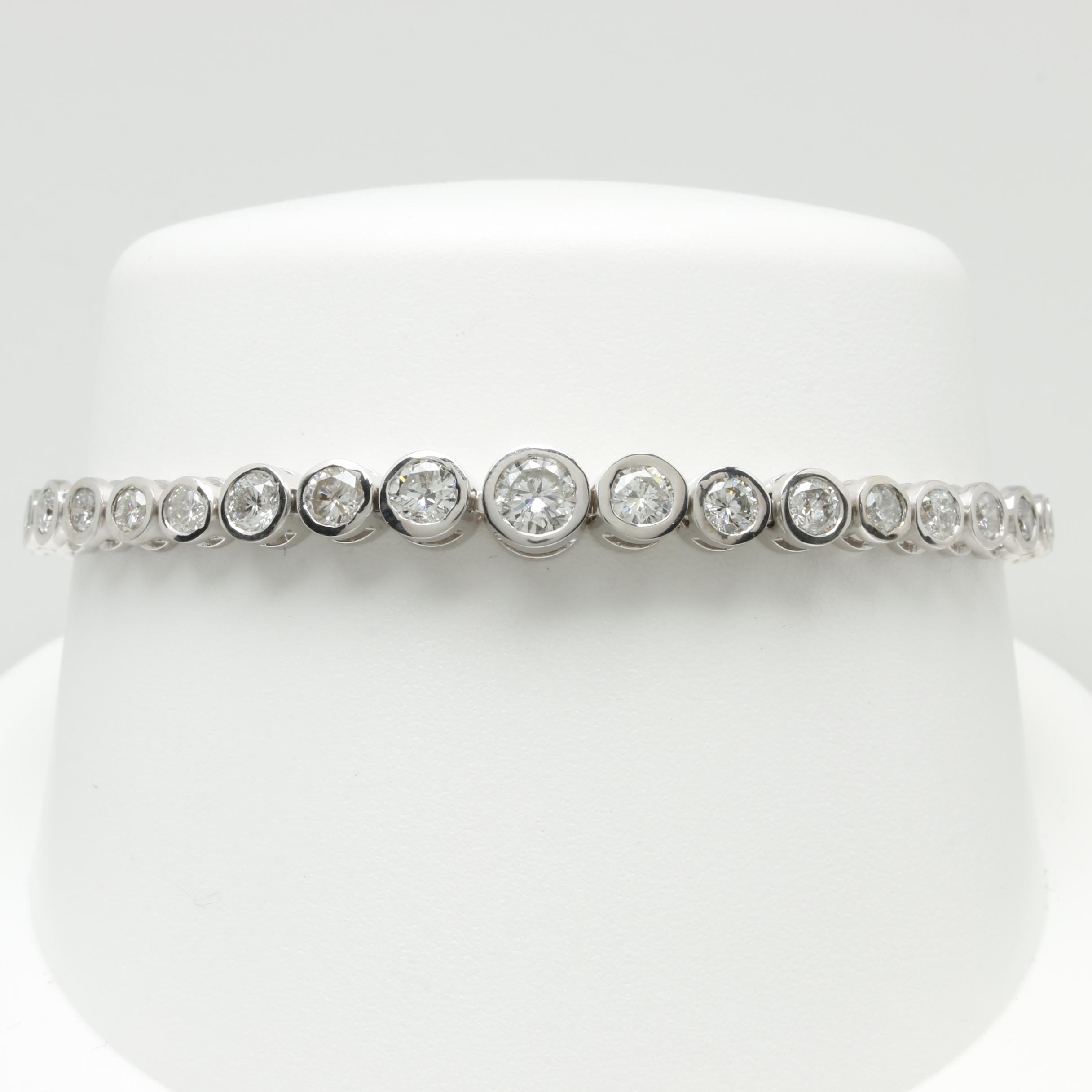 14K White Gold 4.75 CTW Diamond Tennis Bracelet