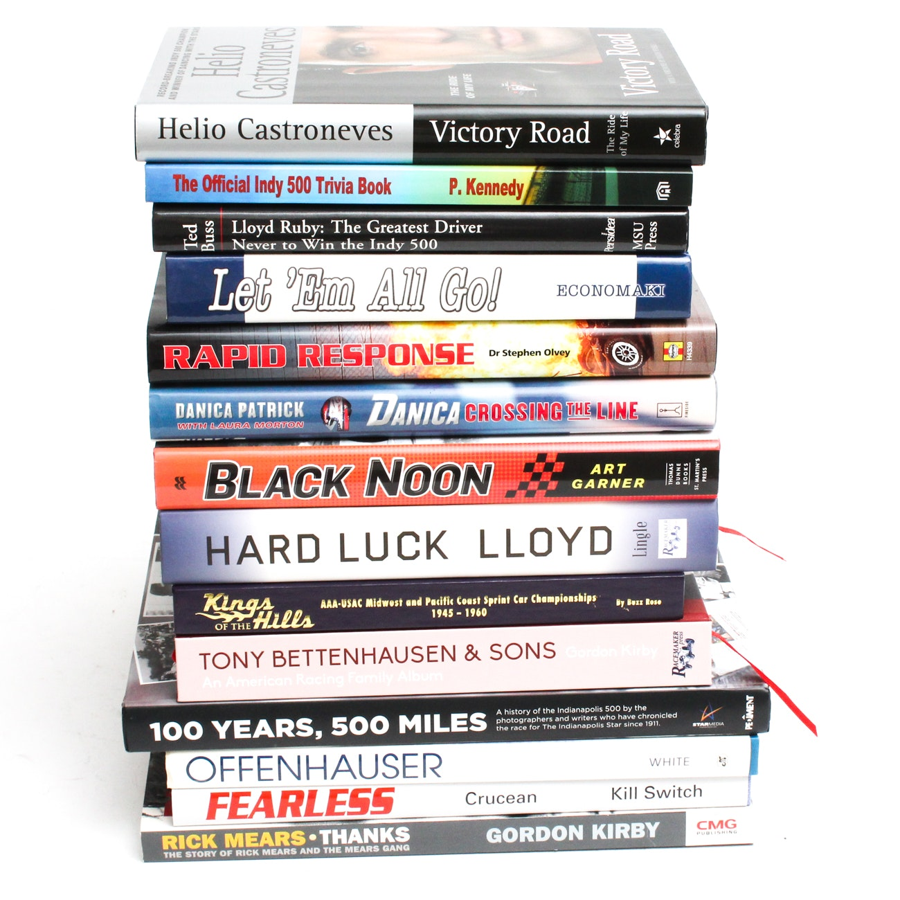 Hardcover Auto Racing Books Focused on Indianapolis 500 Races and Drivers