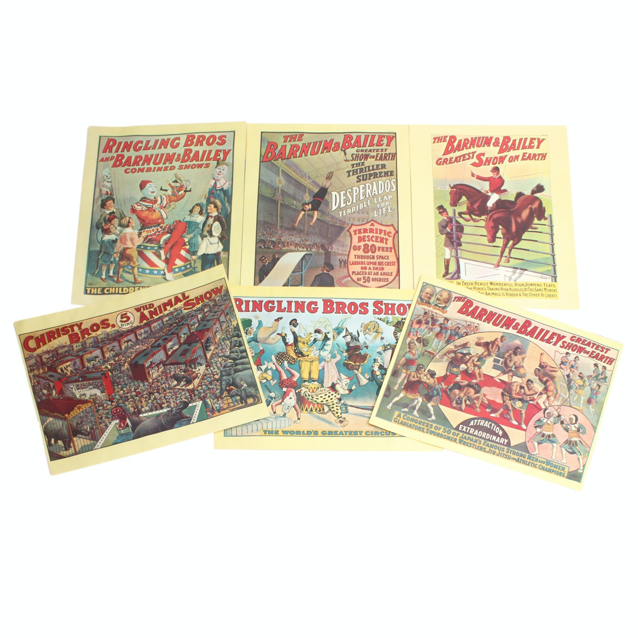 Six Old Time Ringling Bros and Barnum & Bailey Reproduction Circus Posters